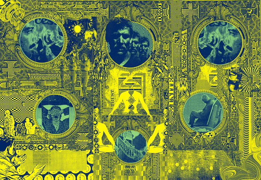 """GWENAËL RATTKE   Der Schein , 2012, acrylic silkscreen on canvas with hand working, 58.5"""" x 40.5"""""""