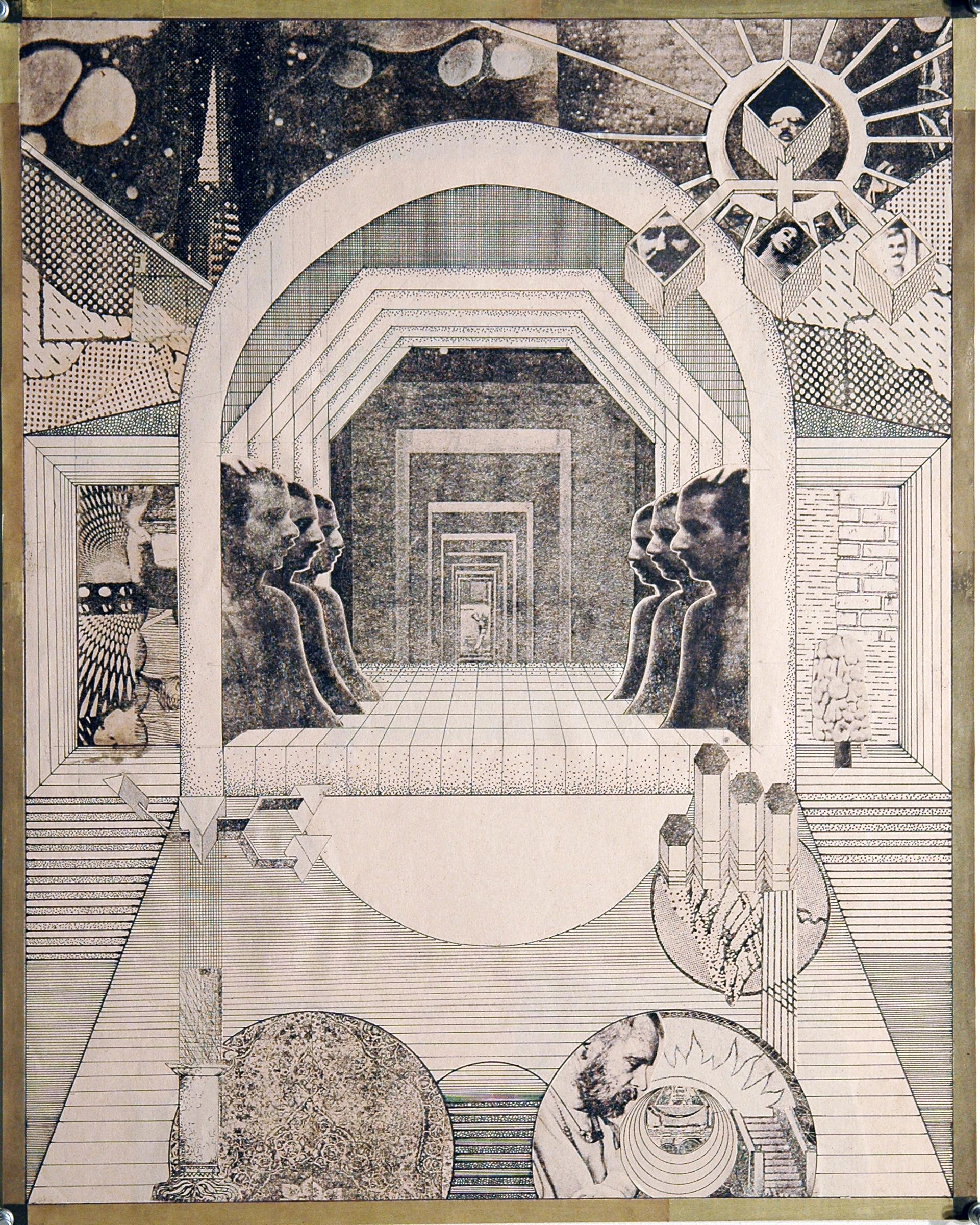 """GWENAËL RATTKE   Die Stadt und ihre Seele 1 , 2012, solvent transfer and collage on museum board, 22.25"""" x 18"""""""