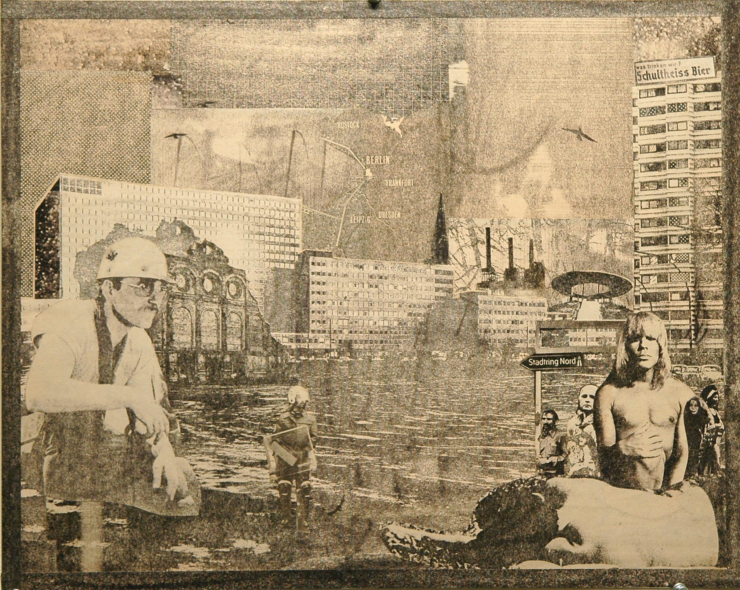 """GWENAËL RATTKE   Die Stadt und ihre Seele 2 , 2012, solvent transfer and collage on museum board, 18"""" x 22.25"""""""