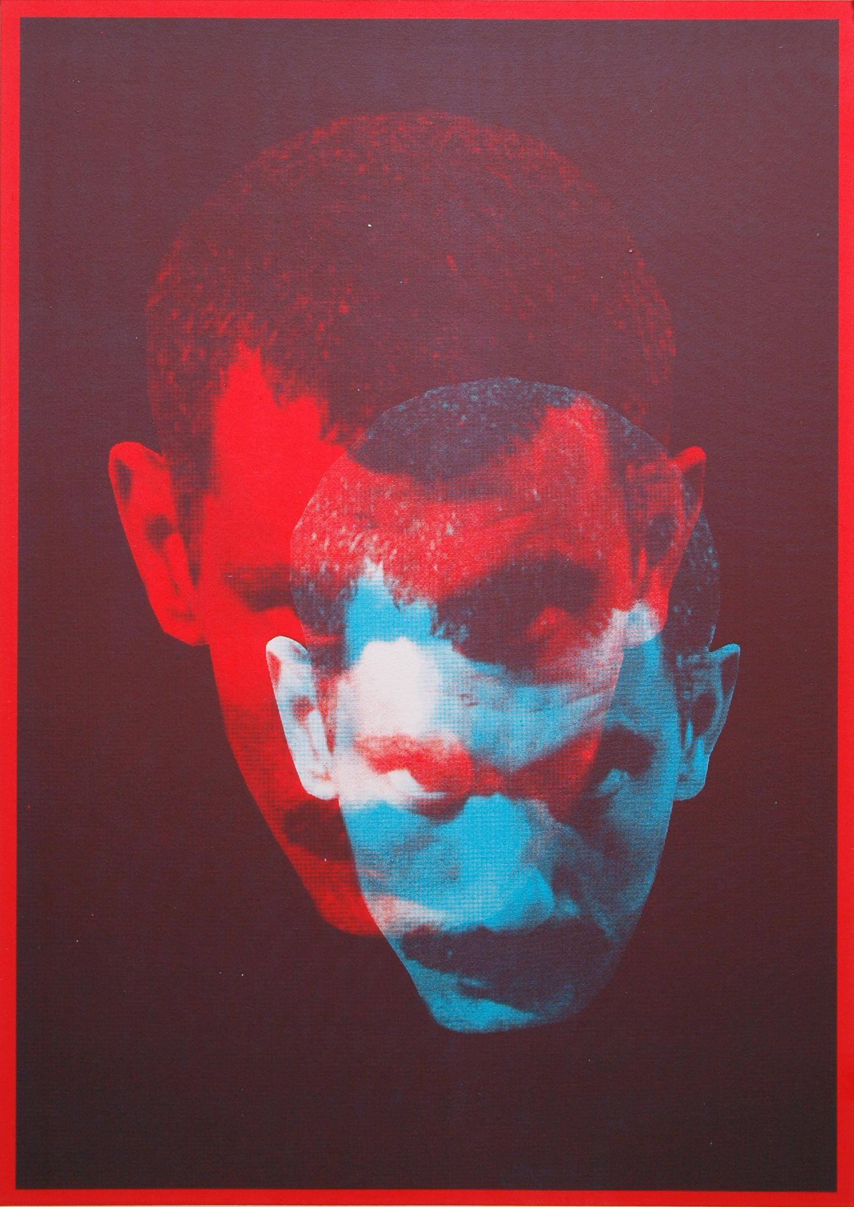 """GWENAËL RATTKE   Double Portrait of Yilmaz Güney , 2012, acrylic silkscreen on museum board, 30"""" x 22.25"""""""