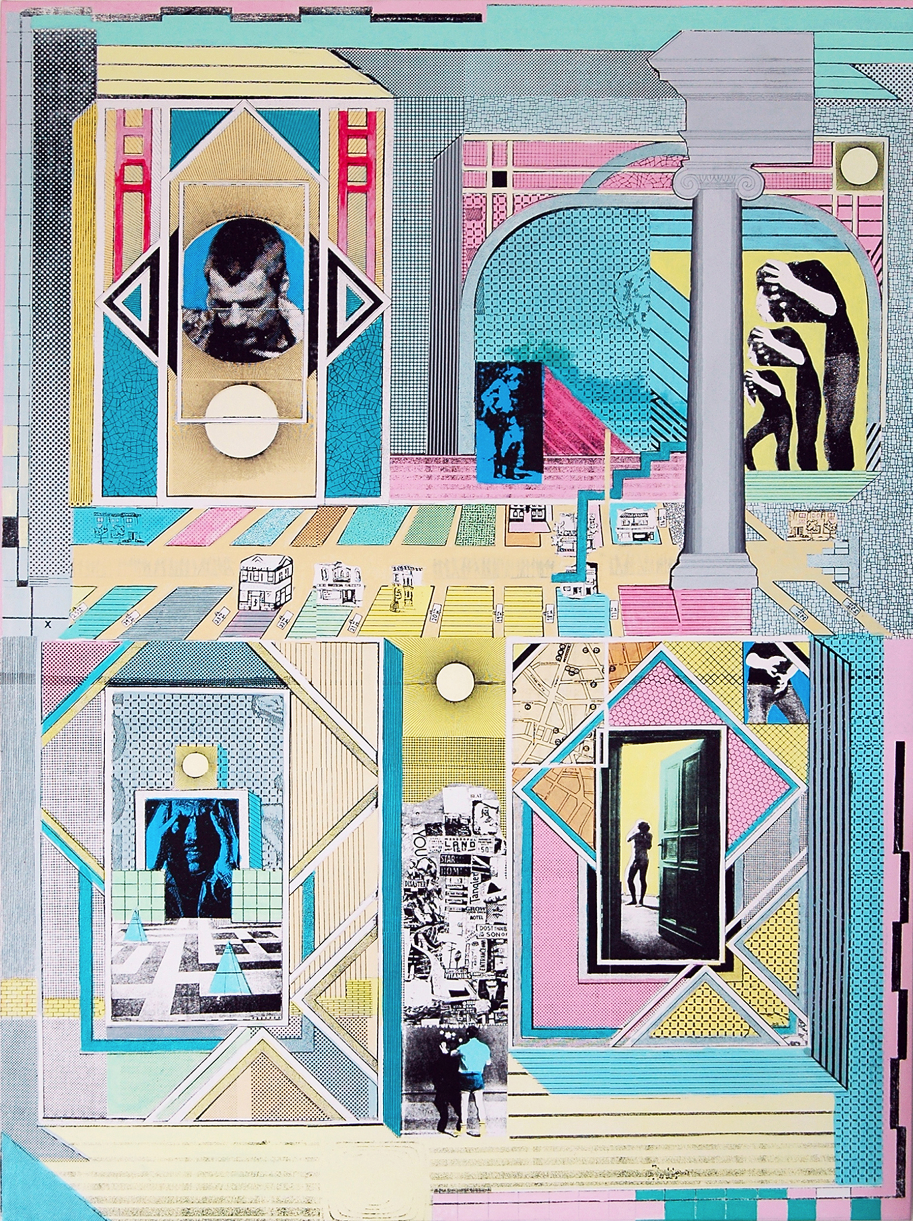 """GWENAËL RATTKE   Patterns & Perspectives , 2012, acrylic silkscreen on canvas with hand working, 56"""" x 41.75"""""""