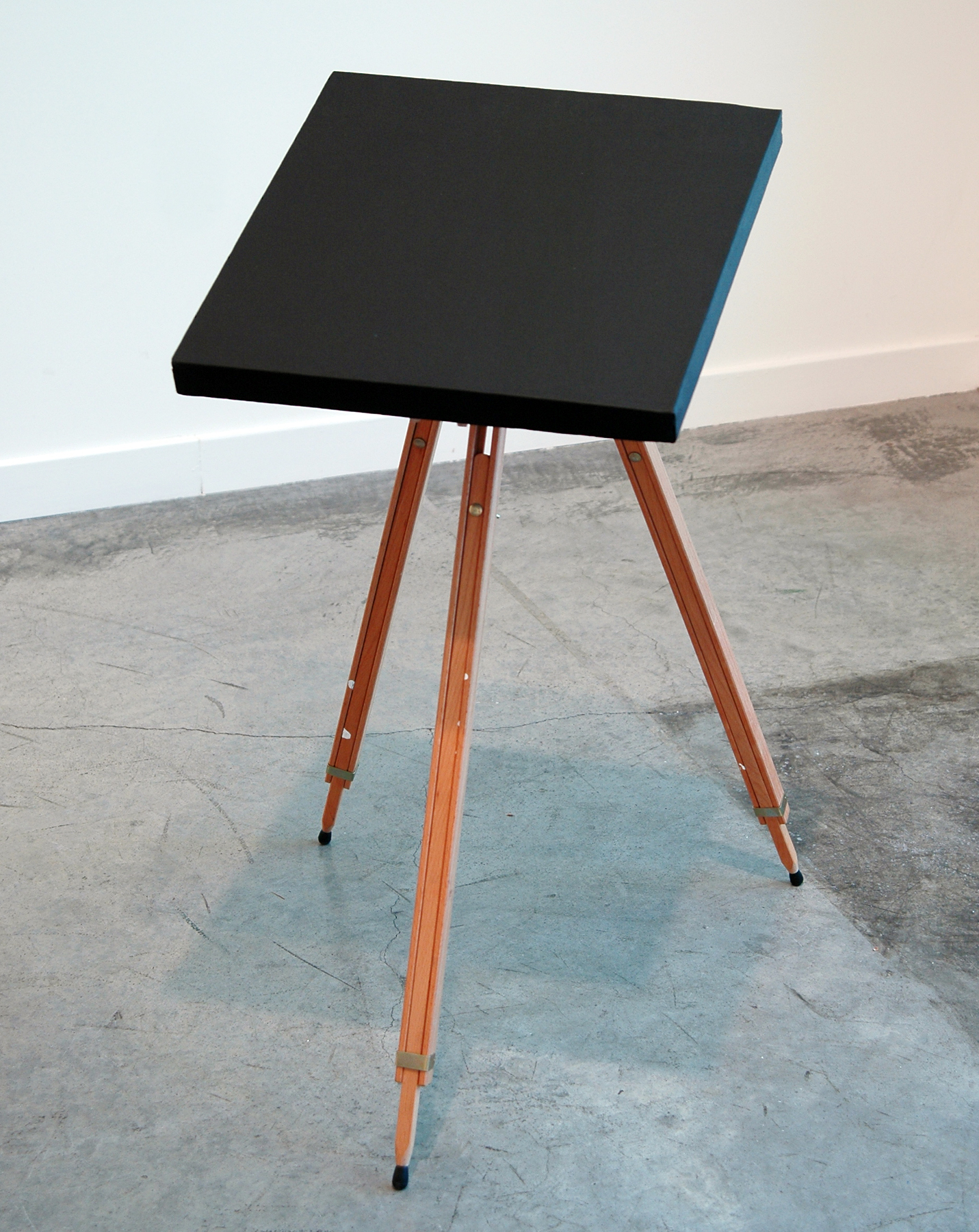 """DERIC CARNER   The Hidden Jungle , black gesso on linen, customized easel and sound, 26"""" x 20.5"""" x 33.5"""", 2012"""
