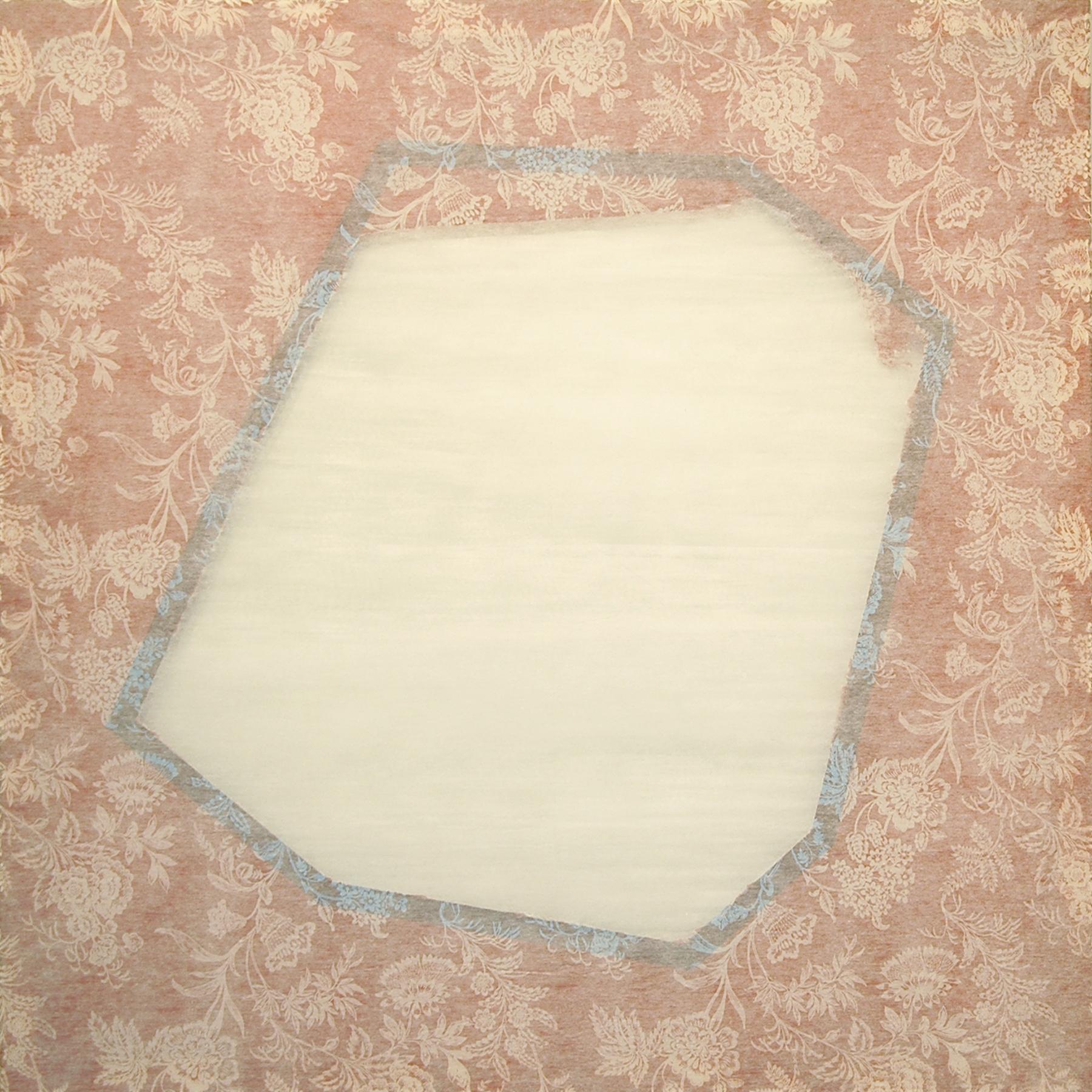 "DERIC CARNER   Melancolia , fleece-backed tablecloth, tape, stretcher bars, 44"" x 44"", 2012"