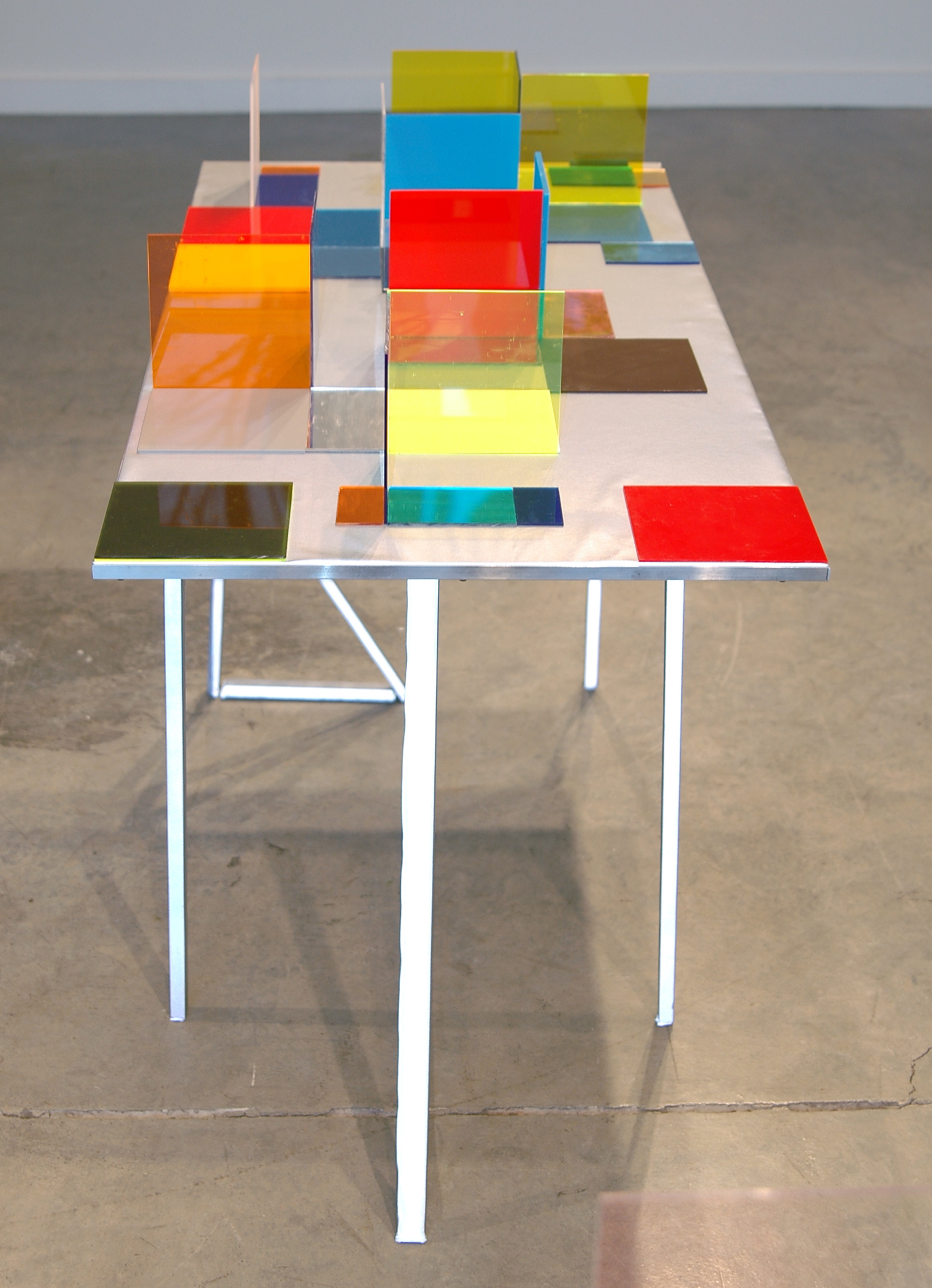 """LUCY PULLEN   Hue III , fabric, aluminum, plexi and tape, 23""""w x 47""""t x 28""""h, 2012"""