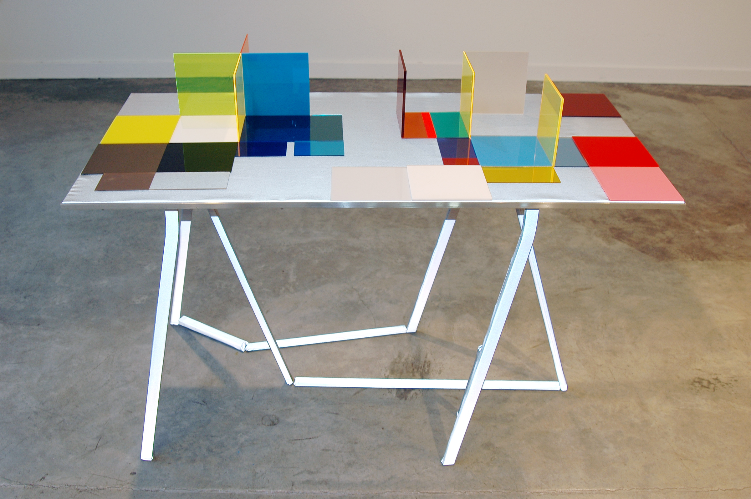 """LUCY PULLEN   Hue I , fabric, aluminum, plexi and tape, 23""""w x 47""""t x 28""""h, 2012"""