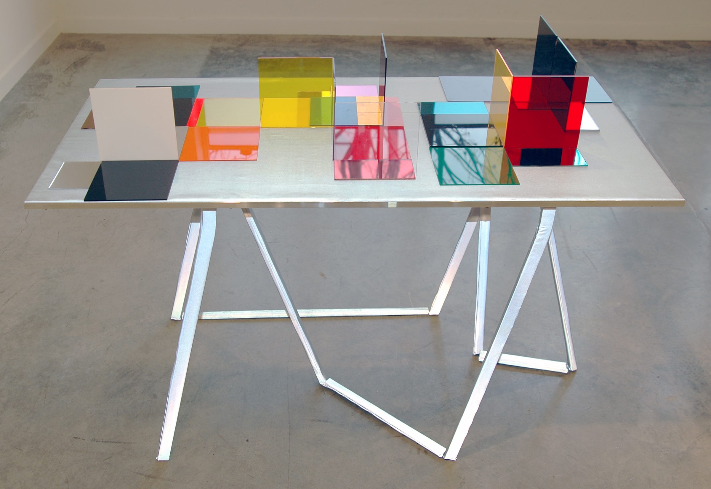 """LUCY PULLEN   Hue IV , fabric, aluminum, plexi and tape, 23""""w x 47""""t x 28""""h, 2012"""