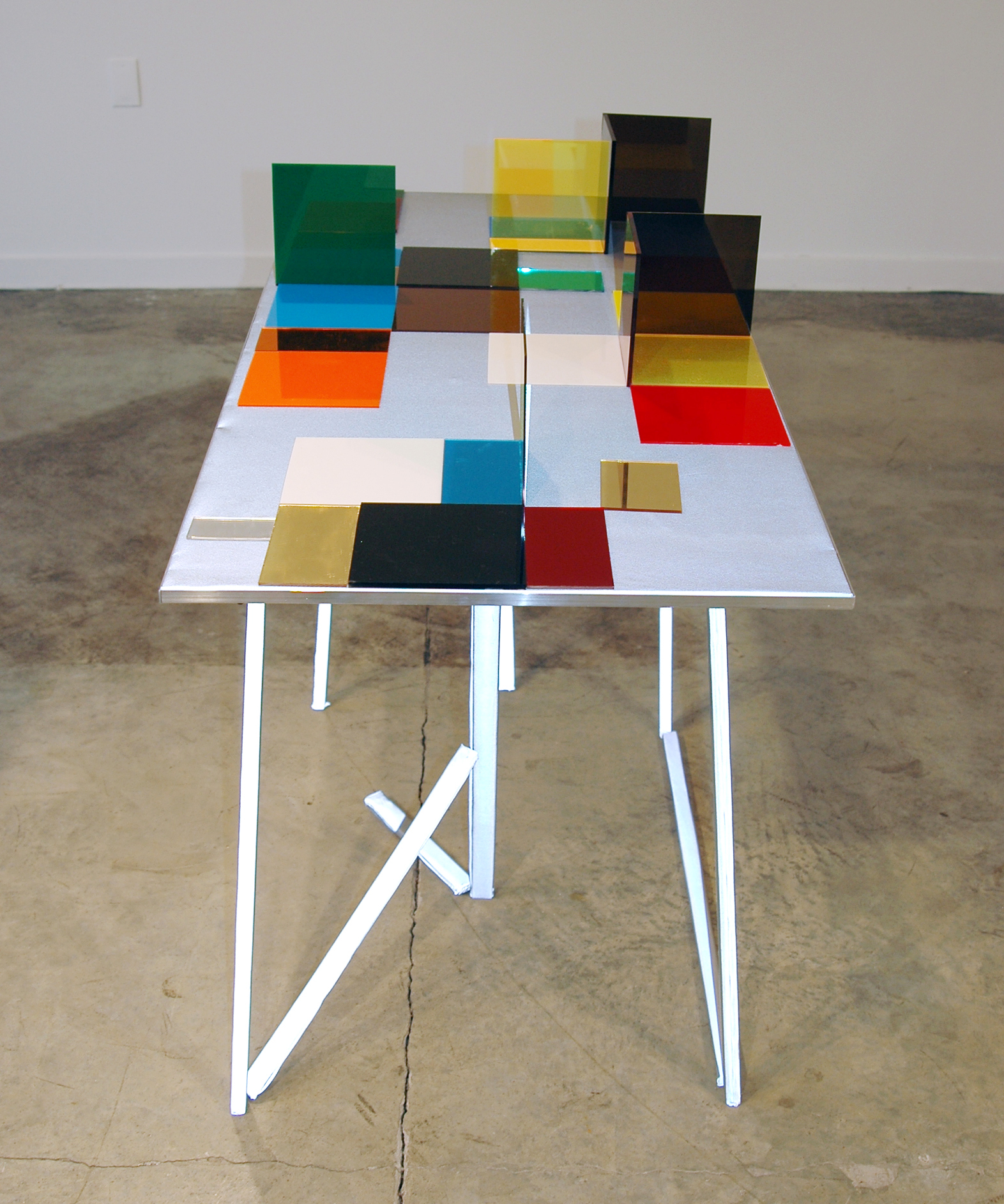 """LUCY PULLEN   Hue II , fabric, aluminum, plexi and tape, 23""""w x 47""""t x 28""""h, 2012"""