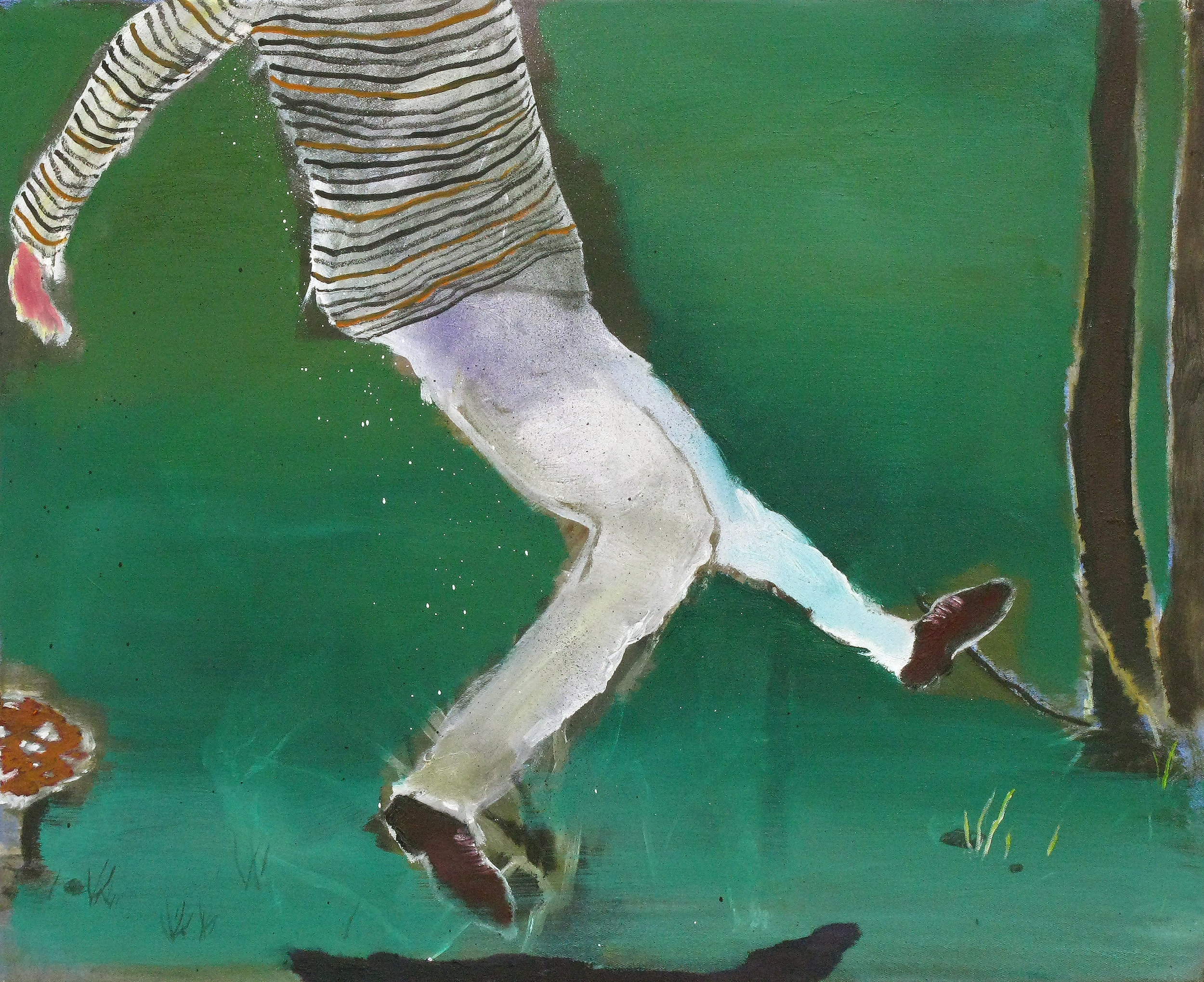 """CHRISTOPH ROßNER   Dancer, oil and lacquer on canvas, 17.75"""" x 21.5"""", 2008"""