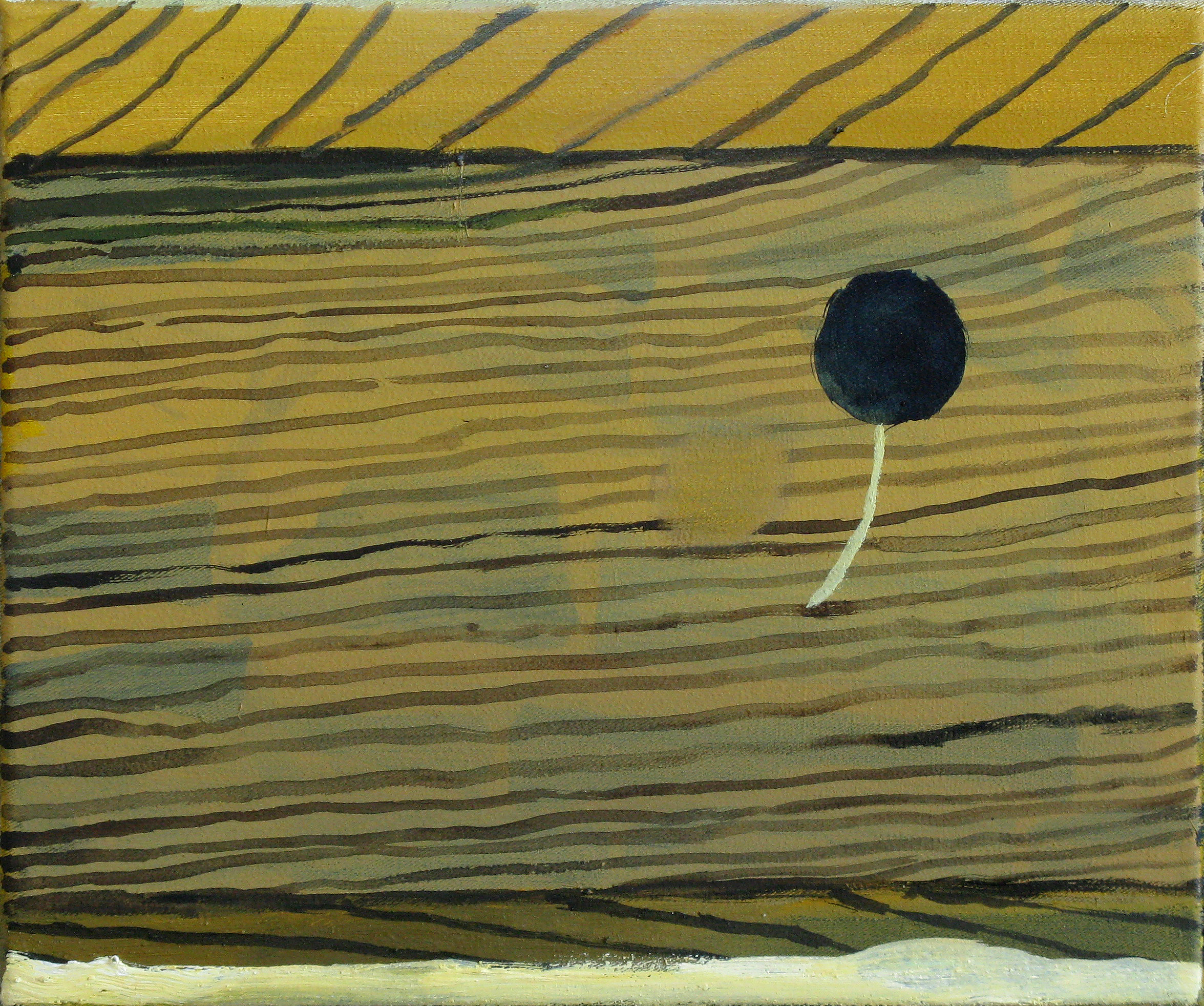 """CHRISTOPH ROßNER   Small Wooden Piece, oil and acrylic on canvas, 10"""" x 11.75"""", 2010"""