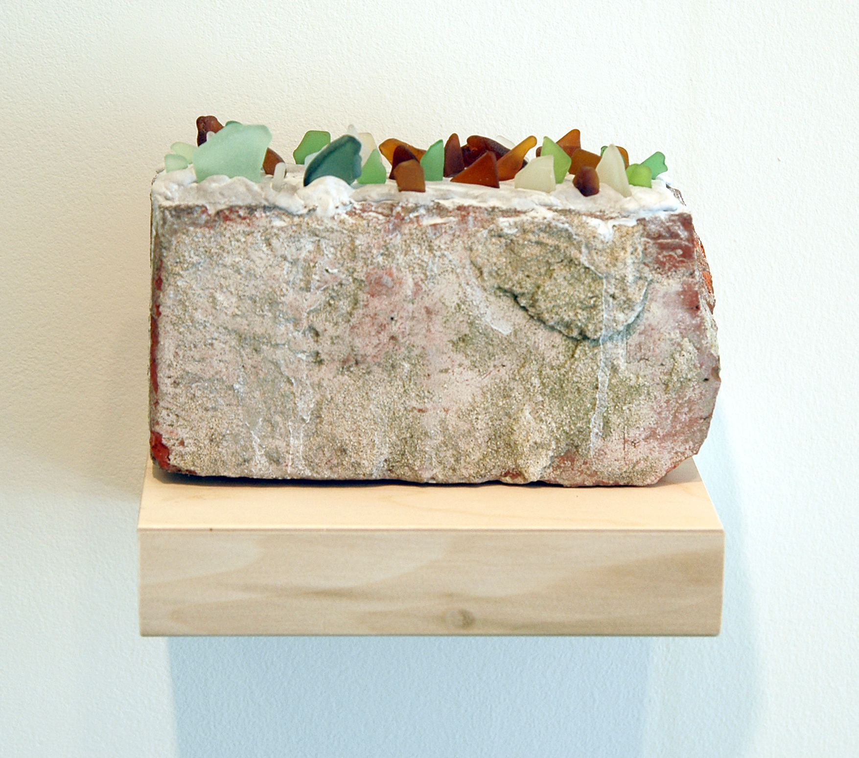 "PABLO GUARDIOLA   Sea Glass Wall , brick, concrete and sea glass, 8"" x 4"" x 2"", 2011"