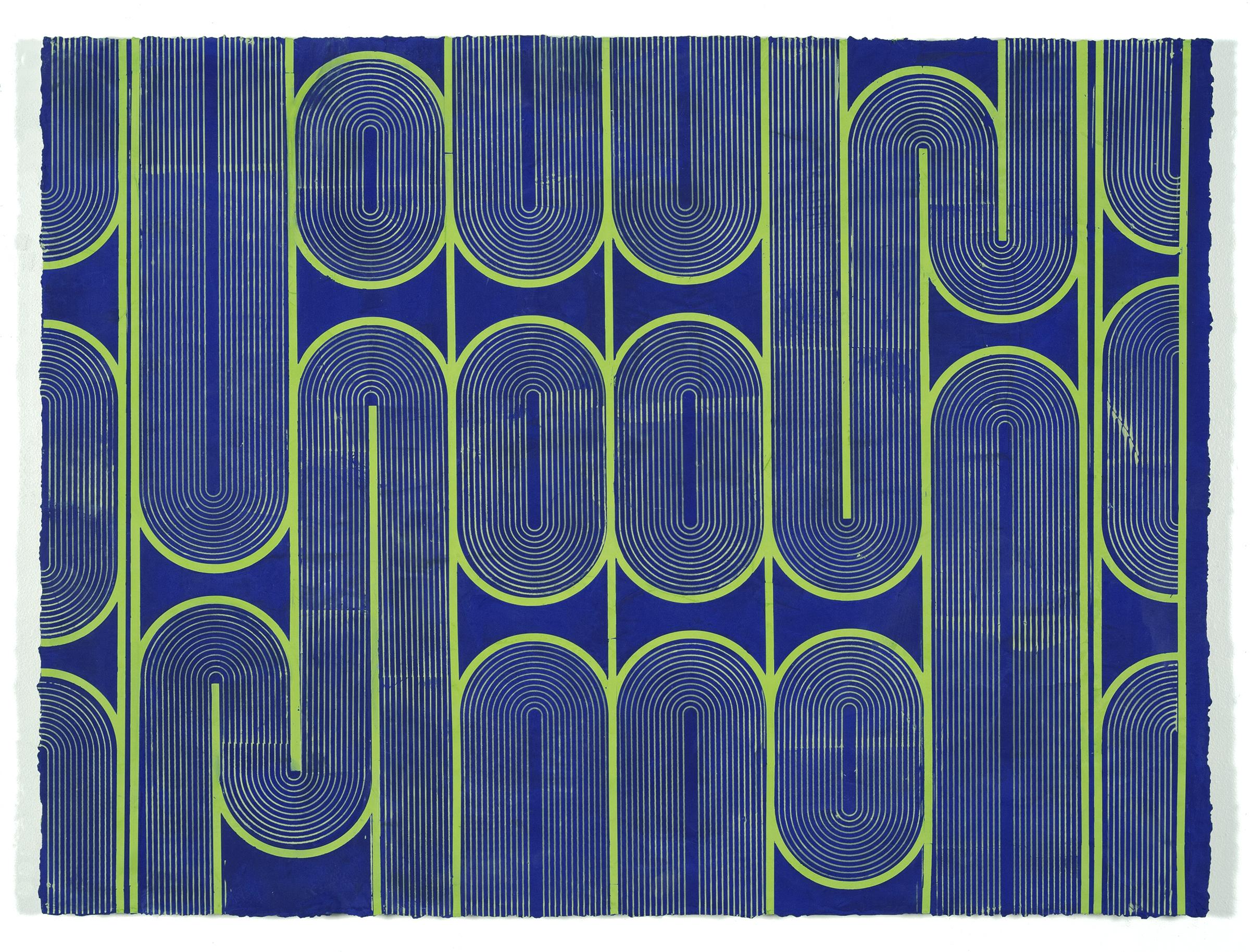 """ELISE FERGUSON   Vinyl Gate , 2016, pigmented plaster on panel, 30"""" x 40"""""""
