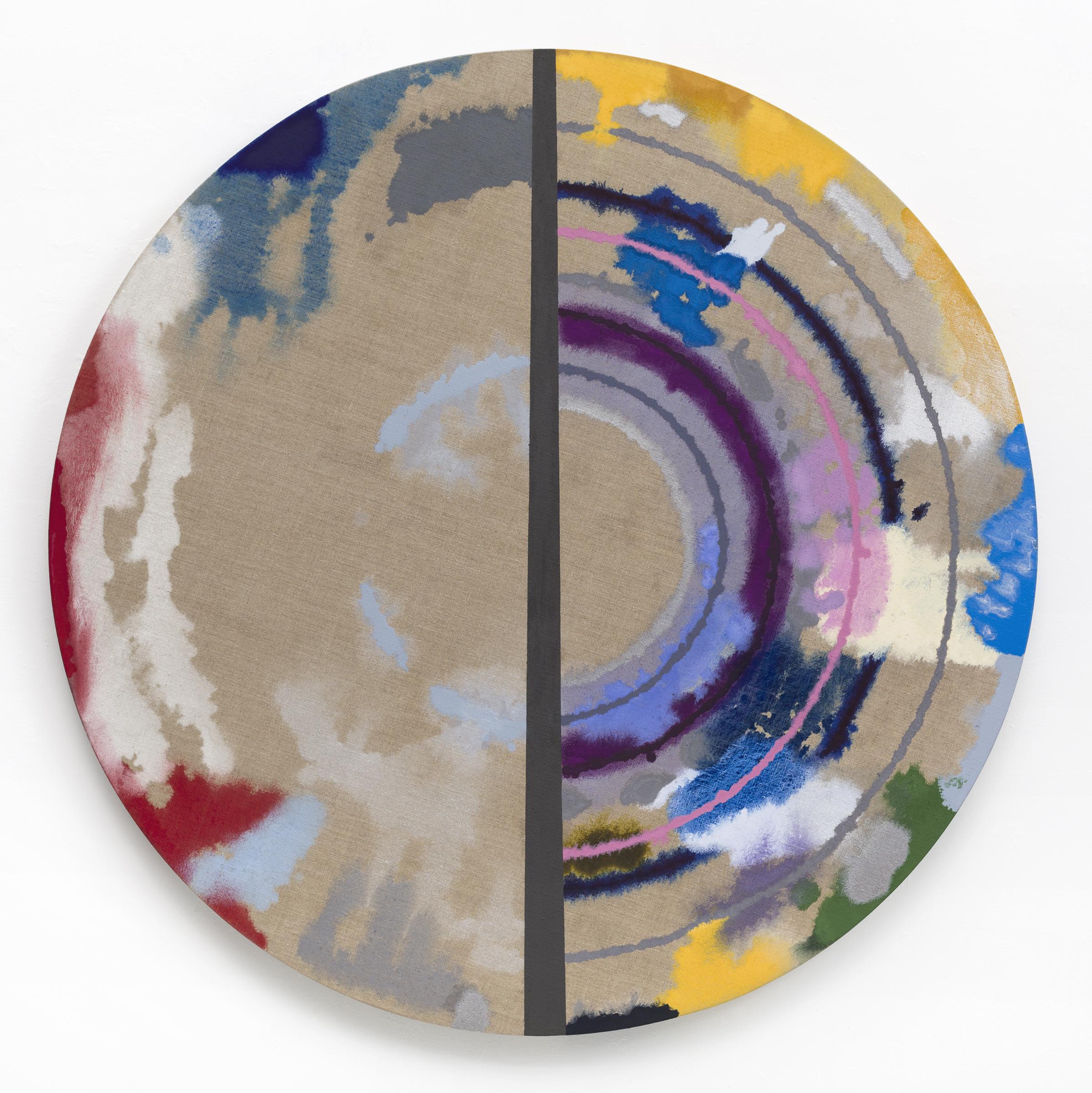 "PAMELA JORDEN   Cut Target , oil on linen, 52"" diameter, 2017"