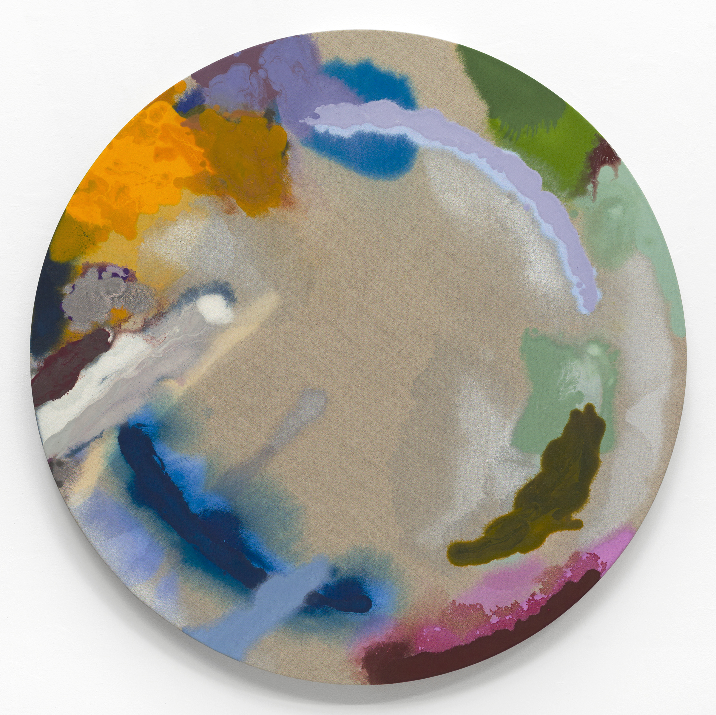 "PAMELA JORDEN   Iris , oil on linen, 44"" diameter, 2017"