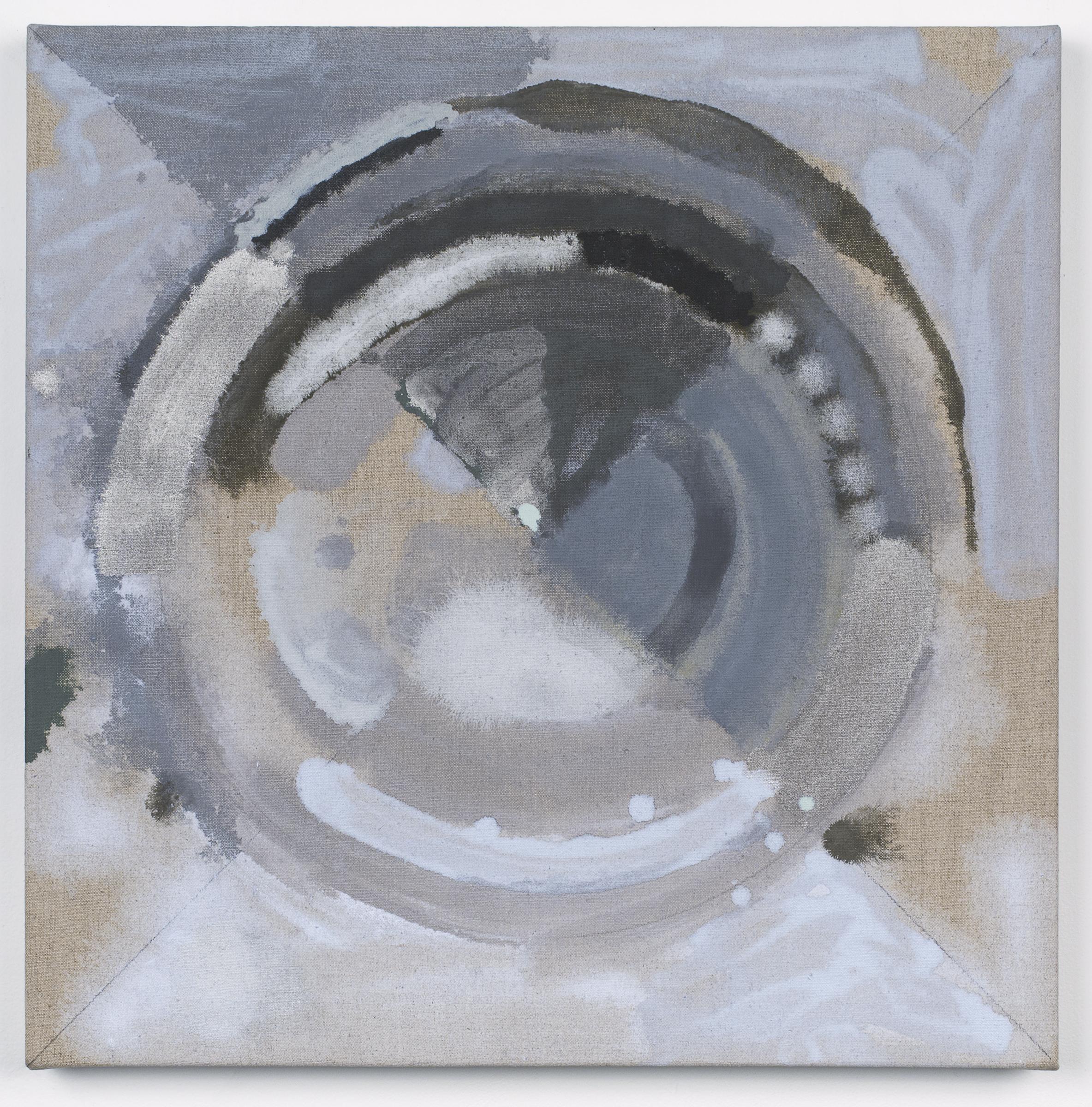 "PAMELA JORDEN   Grey Target , oil on linen 20"" x 20"", 2014"