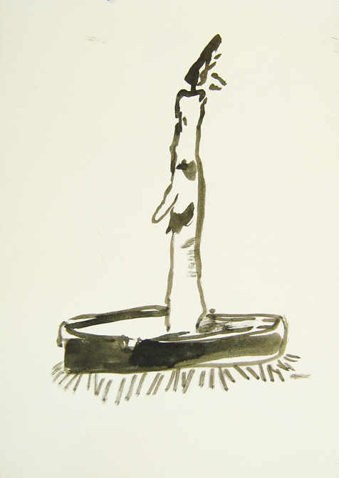 """CHRISTOPH ROßNER   Licht als Trost  (Light as Consolation), india ink on paper, 11.75"""" x 8.25"""", 2009"""
