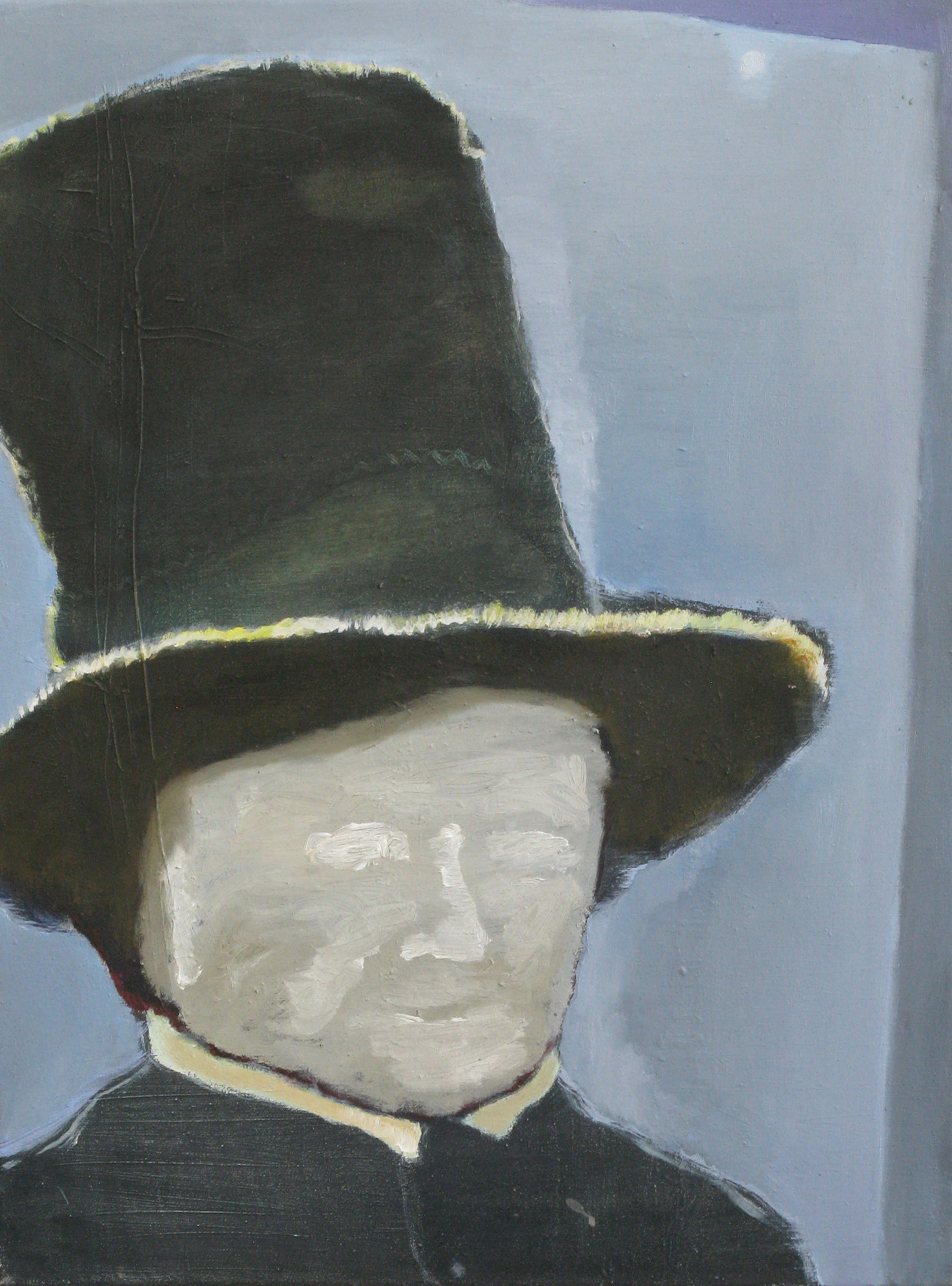 """CHRISTOPH ROßNER   Man With Hat, oil on canvas, 23.5"""" x 17.75"""", 2009"""