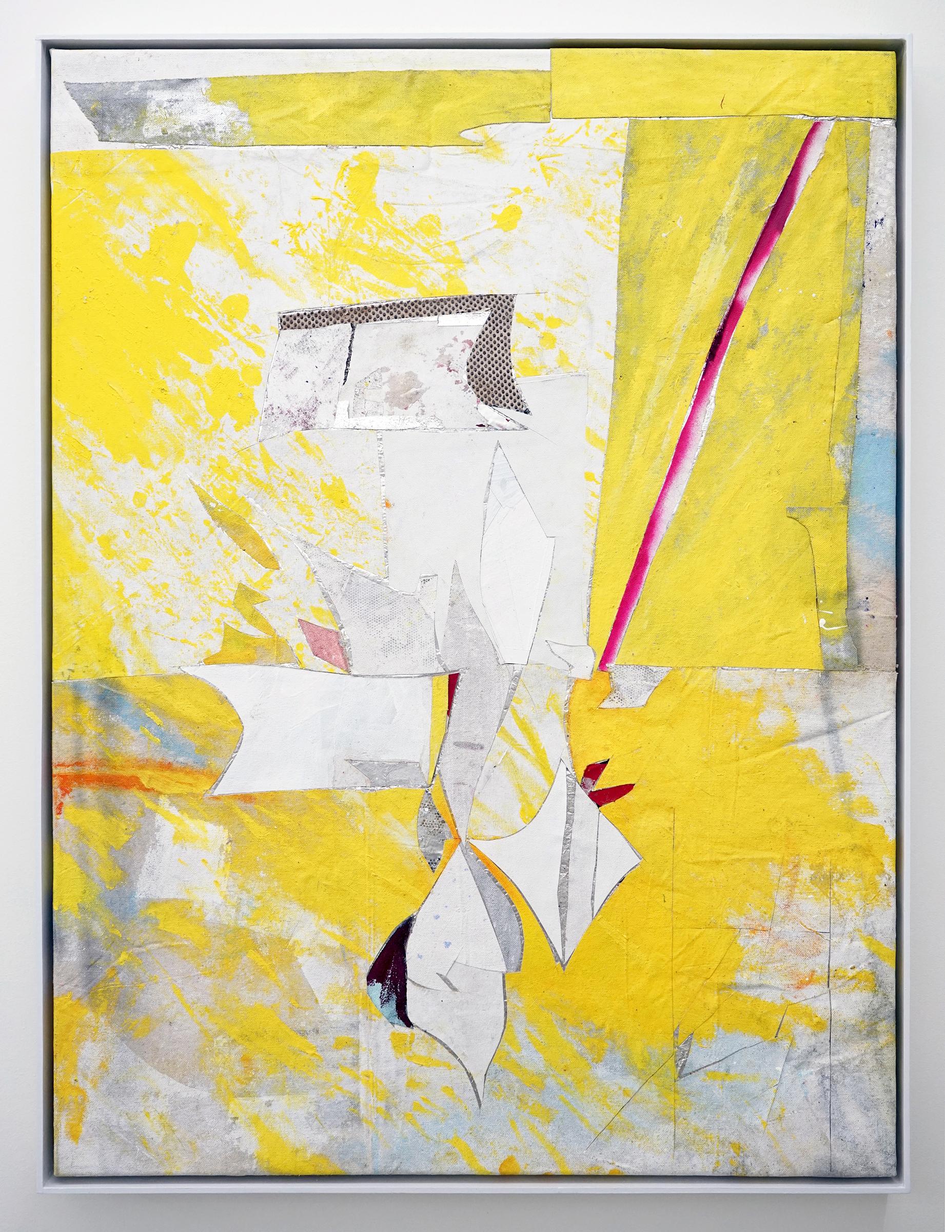"""RYAN WALLACE   Untitled (Lenakaeia) 1 , oil, enamel, acrylic, vinyl, aluminum, fiberglass, paper, canvas, linen, 40"""" x 30"""", 2017"""