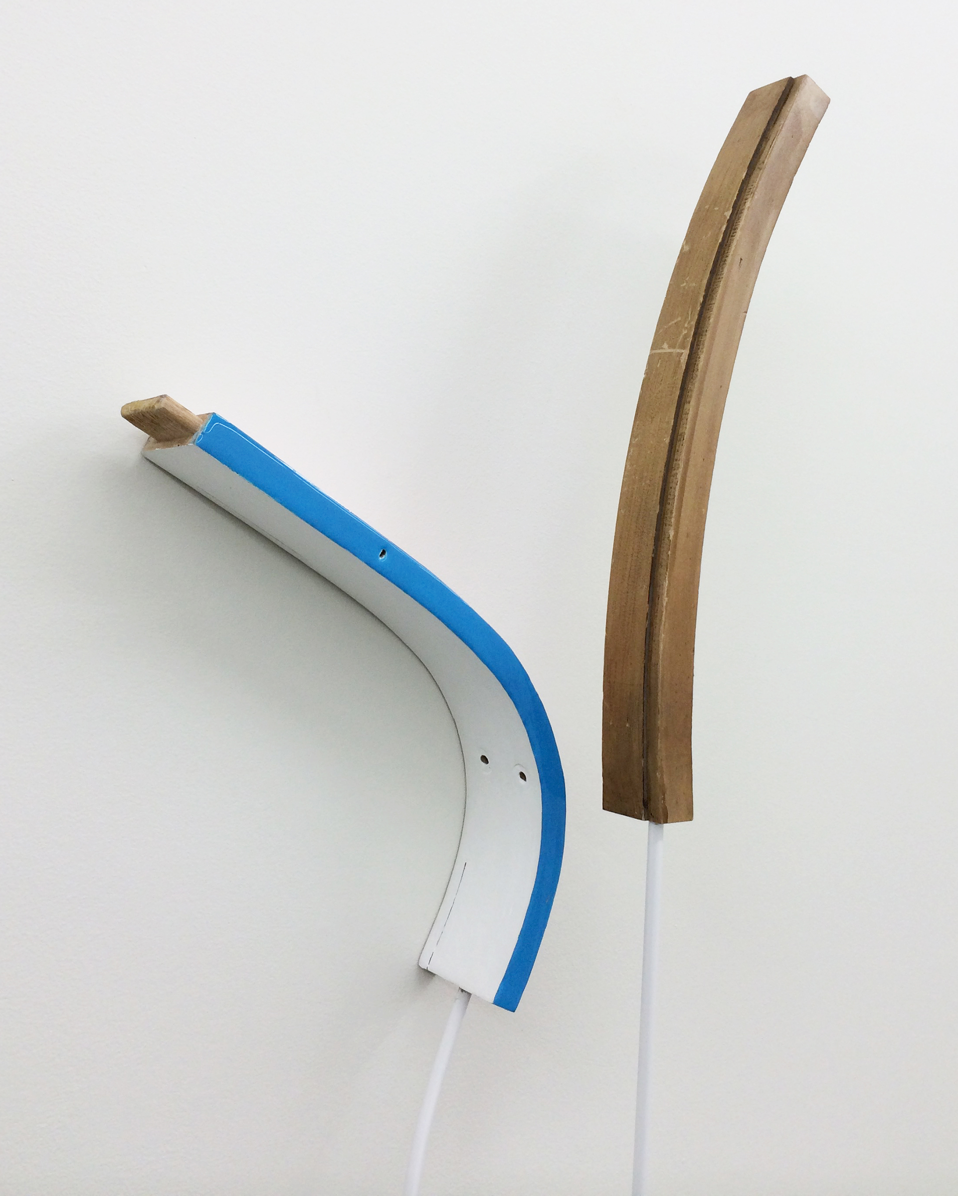 "KIRK STOLLER  (detail)  Untitled (twist) , wood, steel, resin, acrylic and latex paint, enamel, 84.25"" x 19"" x 5.5"""