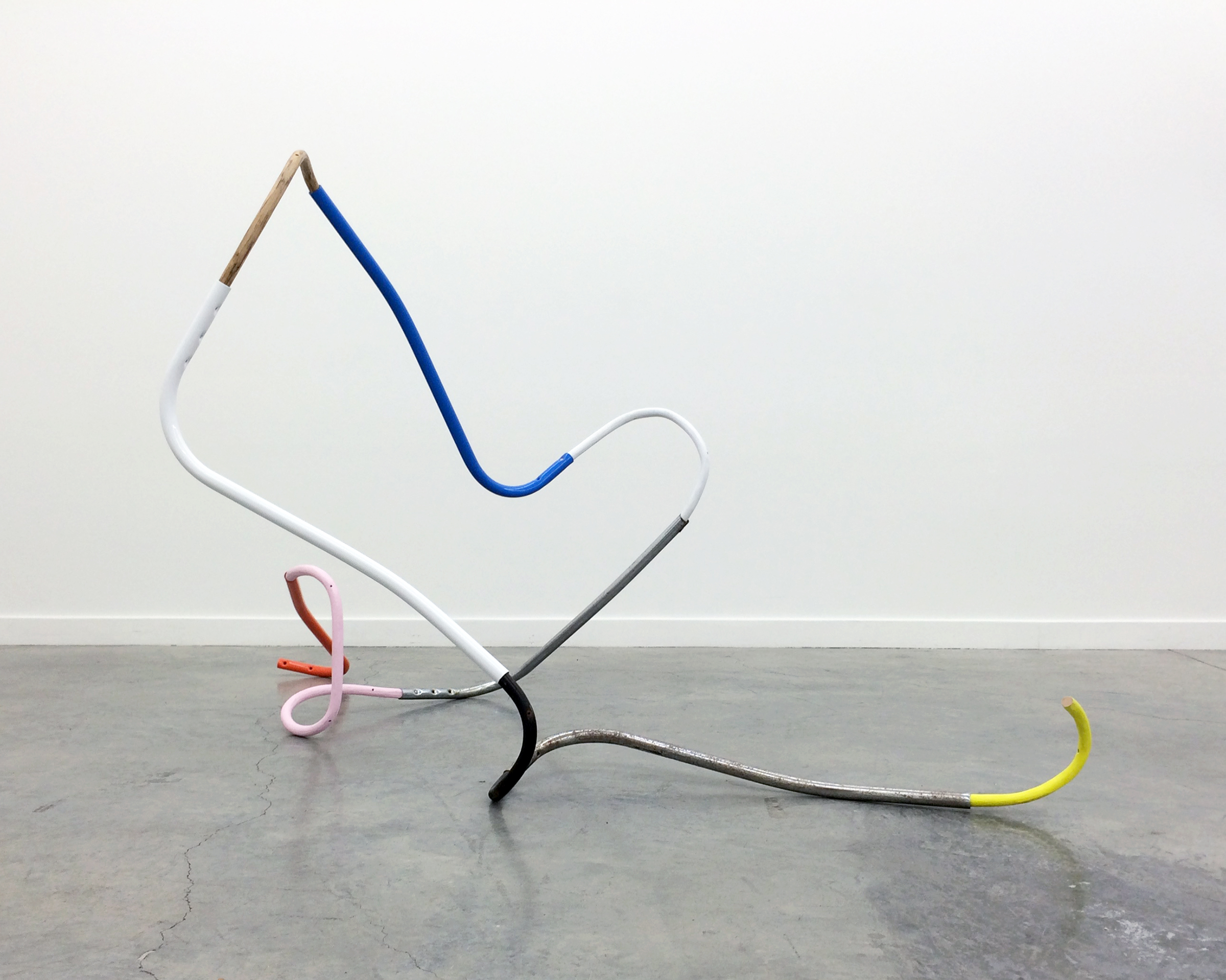 "KIRK STOLLER   Untitled (sinuous) , wood, chrome, acrylic and latex paint, enamel, wood stain, 84"" x 44"" x 42"""