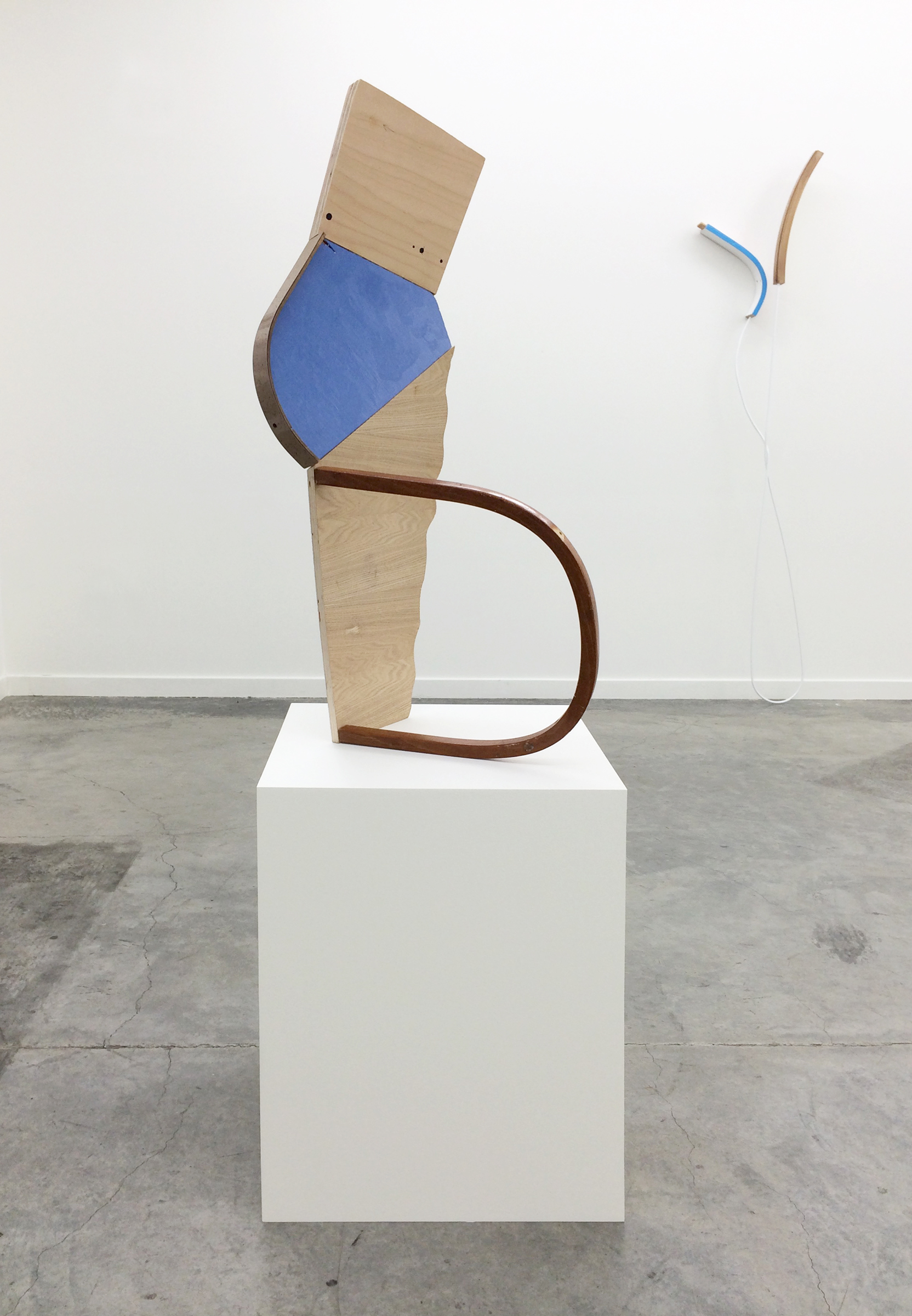 "KIRK STOLLER  (alternate view)  Untitled (shift) , wood, resin, acrylic and latex paint, wood stain, 35"" x 17"" x 16"""