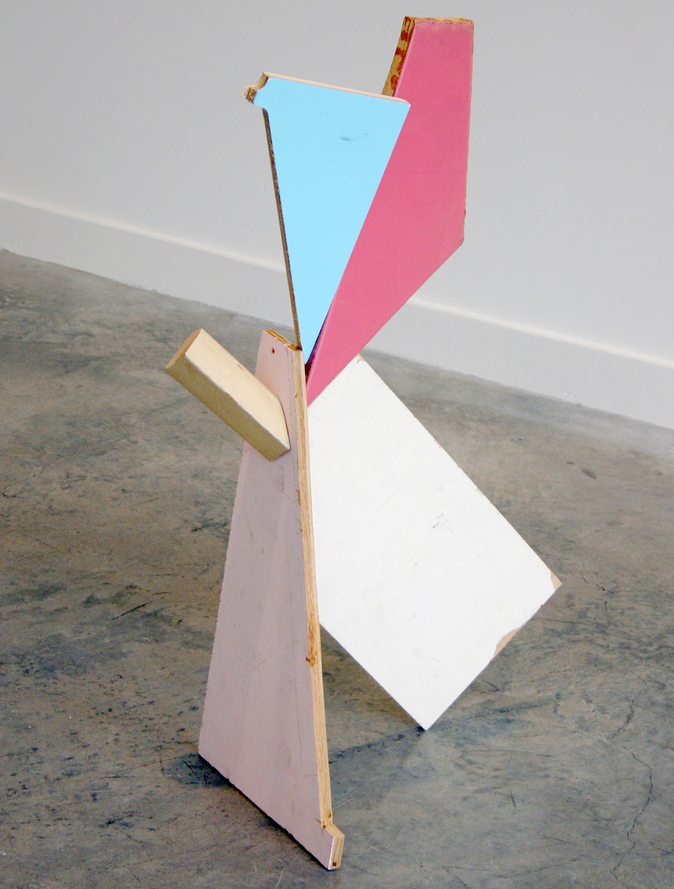"KIRK STOLLER   Untitled (jammed),  wood, paint and resin, 29"" x 15"" x 10.75"", 2011"