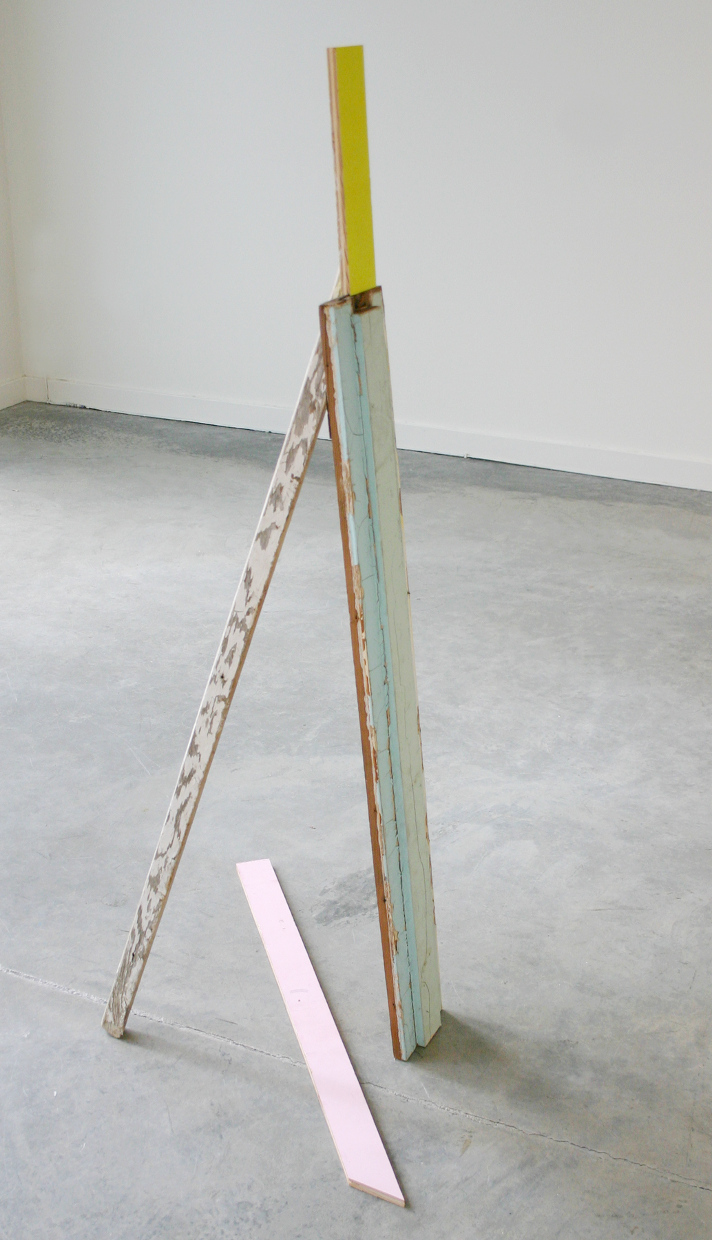 "KIRK STOLLER   Untitled (propped),  wood and paint, 51"" x 24"" x 27"", 2011"