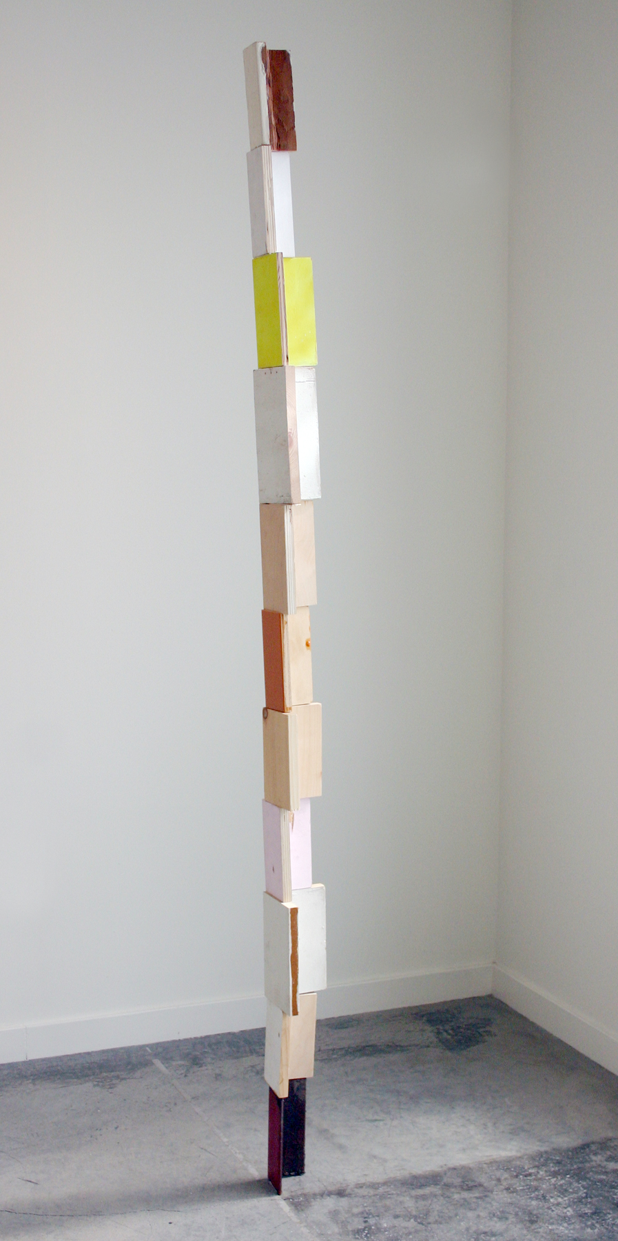 "KIRK STOLLER   Untitled (corner),  wood, paint, resin and steel, 82.25"" x 5"" x 5"", 2011"