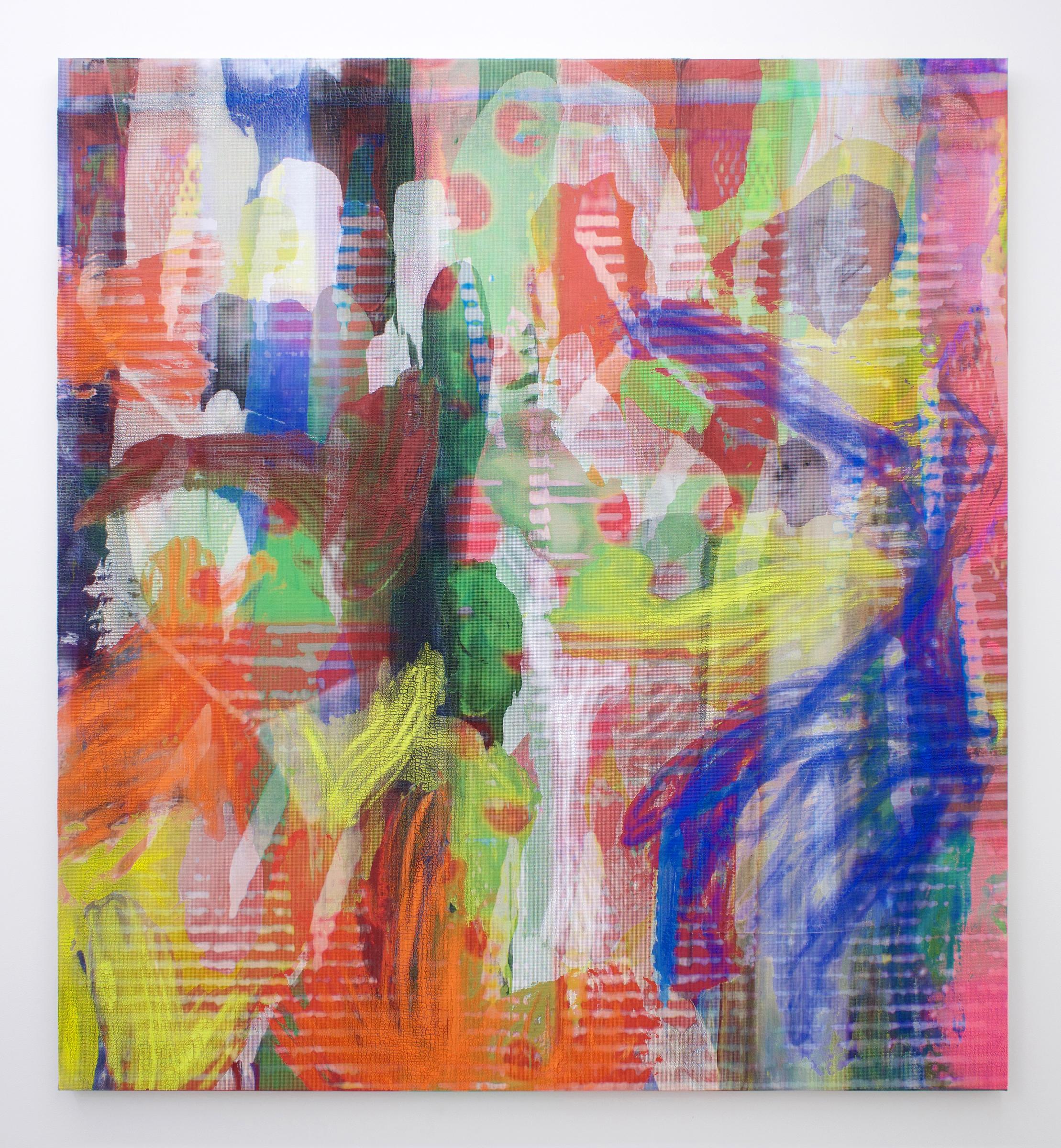 "EVAN NESBIT  Manifold Painting (Ever Dissonant Futures) , 2017, acrylic, UV curable ink on vinyl coated mesh fabric, 66"" x 60"""