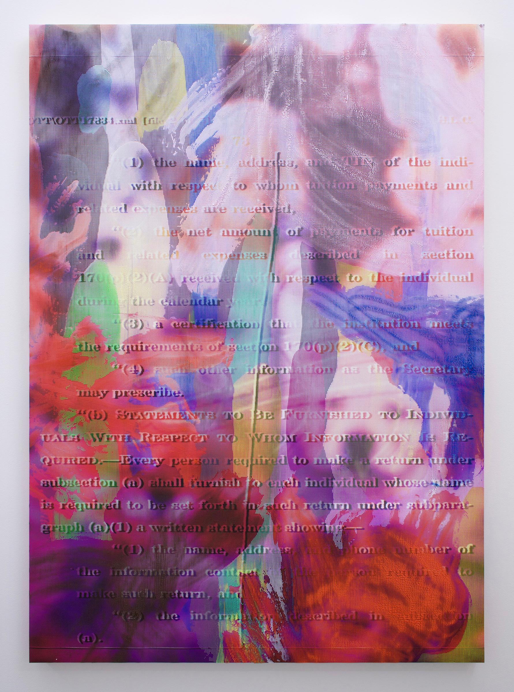 "EVAN NESBIT  Manifold Painting (Merge Visible) , 2017, acrylic, UV curable ink on vinyl coated mesh fabric, 53"" x 37"""