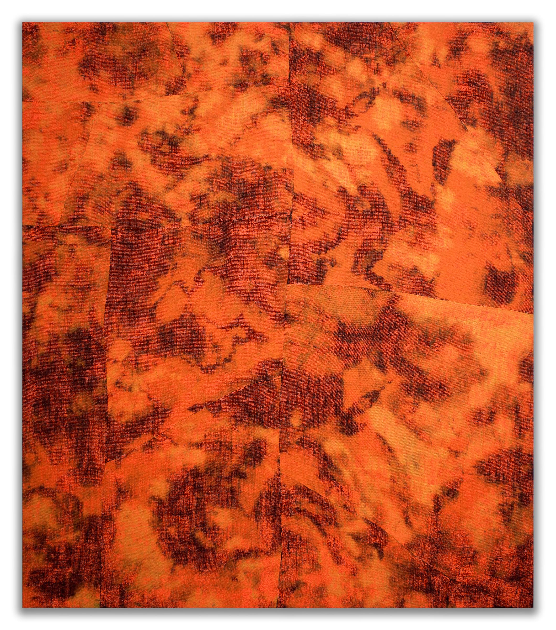 "EVAN NESBIT  Porosity (Heat Beat II) , 2015 acrylic, dye and burlap, 79"" x 68"""