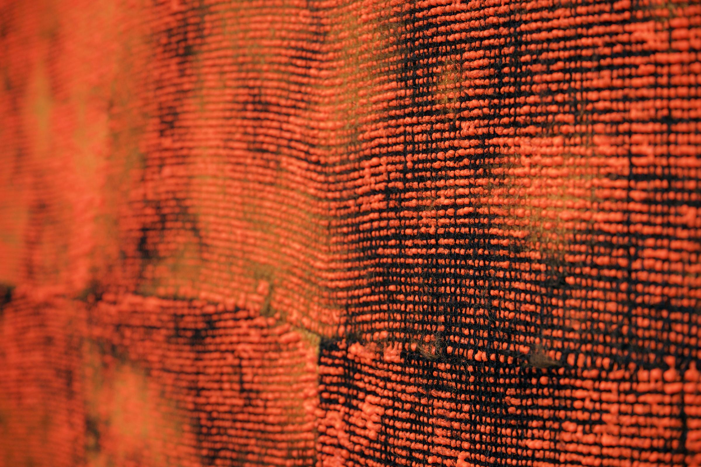 "EVAN NESBIT (detail) Porosity (Heat Beat II) , 2015 acrylic, dye and burlap, 79"" x 68"""
