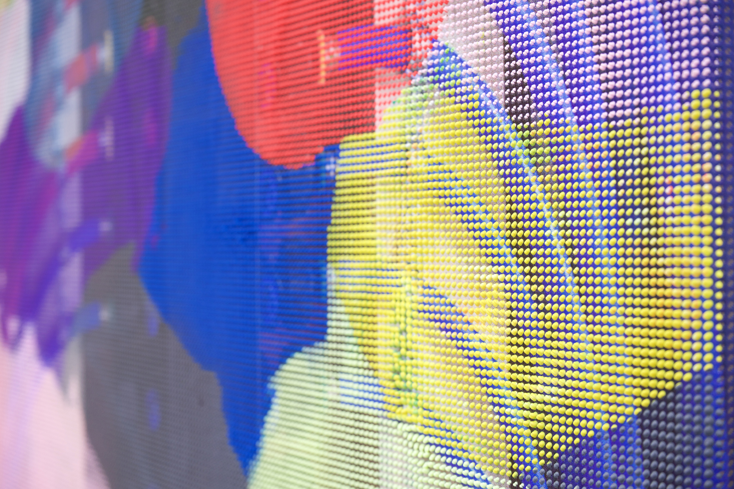 "EVAN NESBIT (detail)  Manifold Painting (Manifold #2) , 2017 acrylic, UV curable ink on vinyl coated mesh fabric, 30"" x 18"""