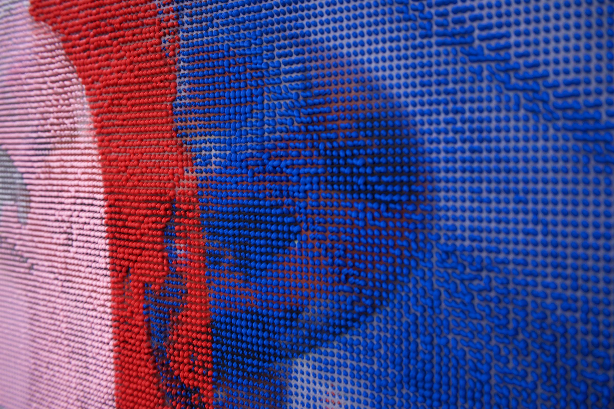 "EVAN NESBIT (detail)  Manifold Painting (Perishable Gestures) , 2017, acrylic, UV curable ink on vinyl coated mesh fabric, 53"" x 37"""