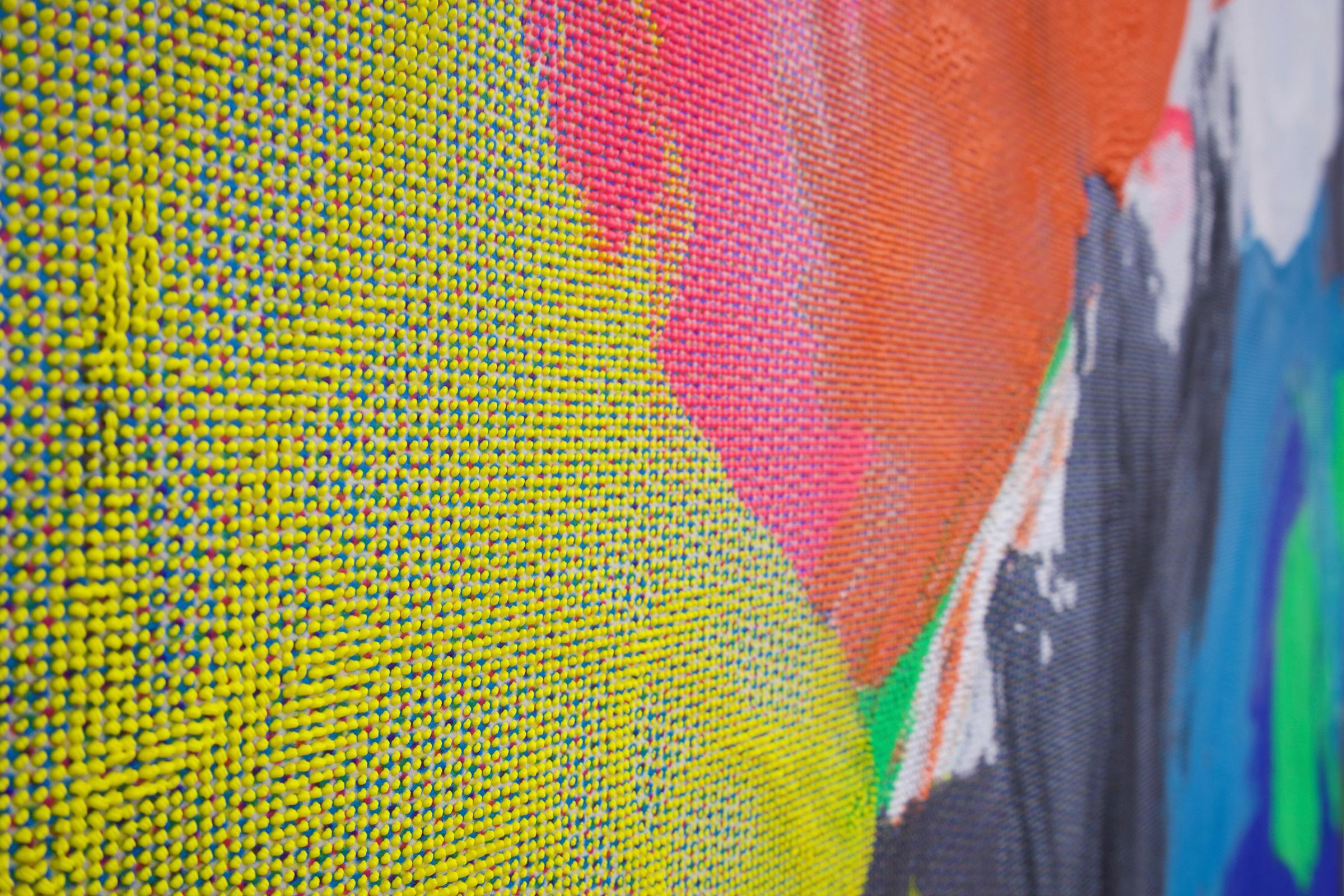 "EVAN NESBIT  (detail)  Manifold Painting (Tactile Interface) , 2017, acrylic, UV curable ink on vinyl coated mesh fabric, 53"" x 37"""
