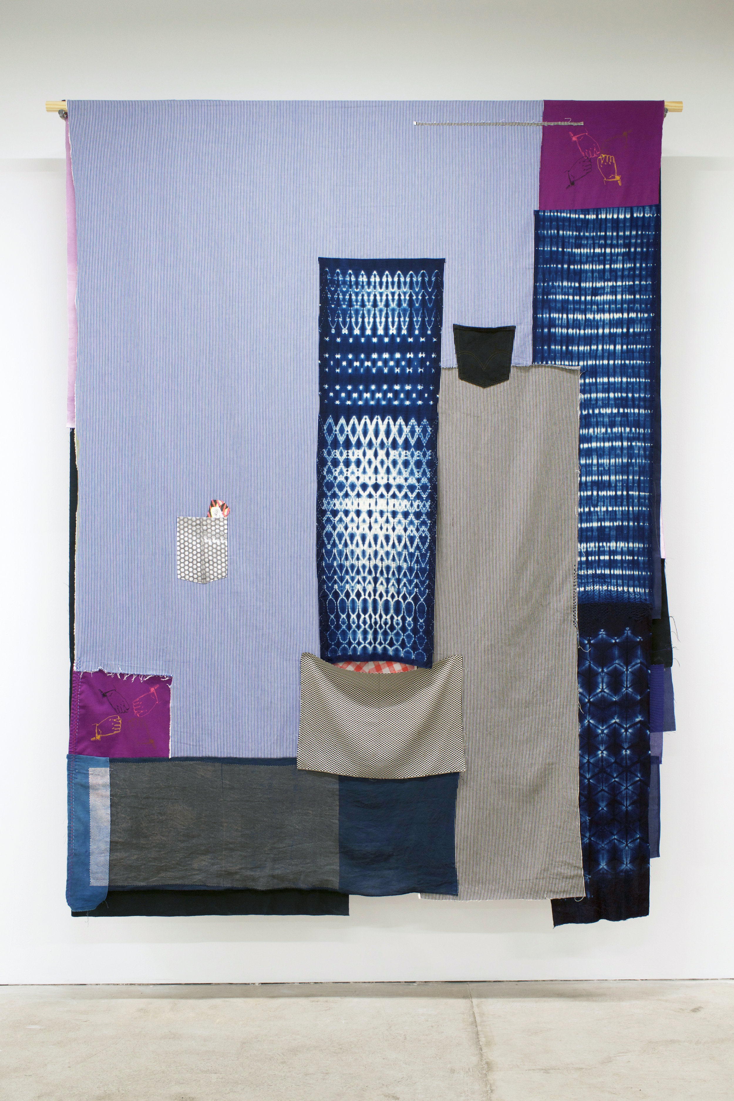 "AMANDA CURRERI   Gestures (Proteggere, Rubare) , 2018 Hand-dyed and hand-printed fabrics with indigo, madder, soot/soya dyes and acrylic on various fabrics such as used table cloths, vintage Japanese linen, and cotton kimono fabric; vintage Japanese silk, Japanese denim (new), American denim (new), deconstructed denim jeans pocket, screenprint on paper, digital print on fabric, recycled American flag cut-offs, and thread, 96"" x 72"" (two-sided)"