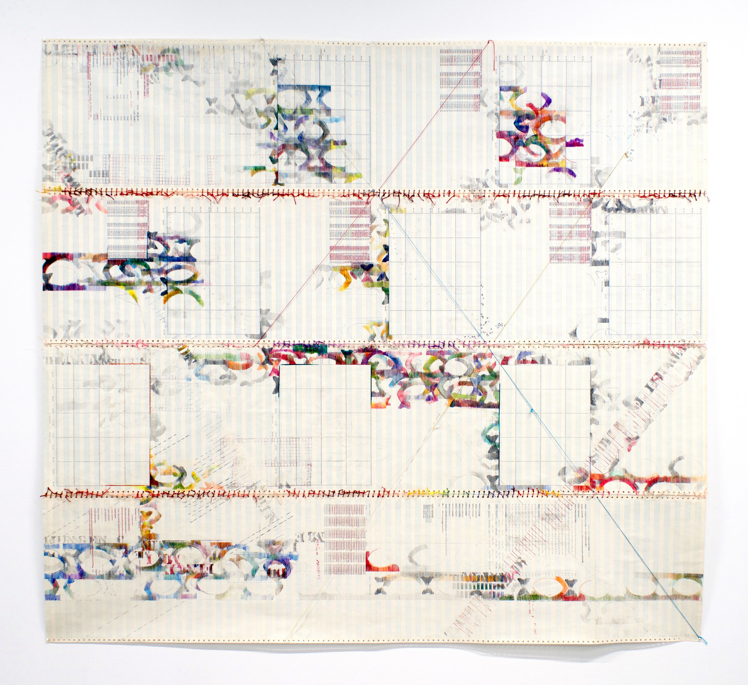 "SONYA RAPOPORT   Christo and Cornell (Yarn Drawing No. 9) , 1976, pencil, colored pencil, stamp, ink and thread on found continuous-feed computer paper, 59.5"" x 66"""