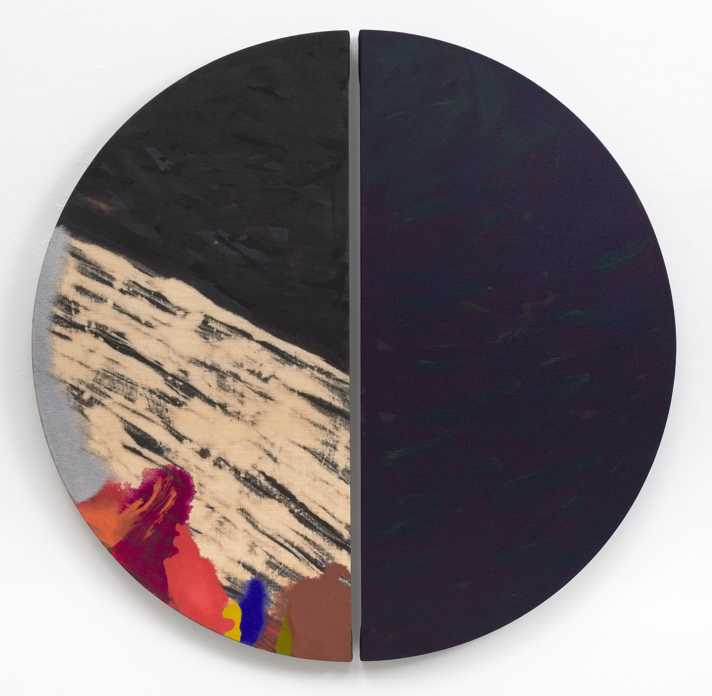 "PAMELA JORDEN Palus , 2017 Oil and bleach on linen 48"" x 49"""