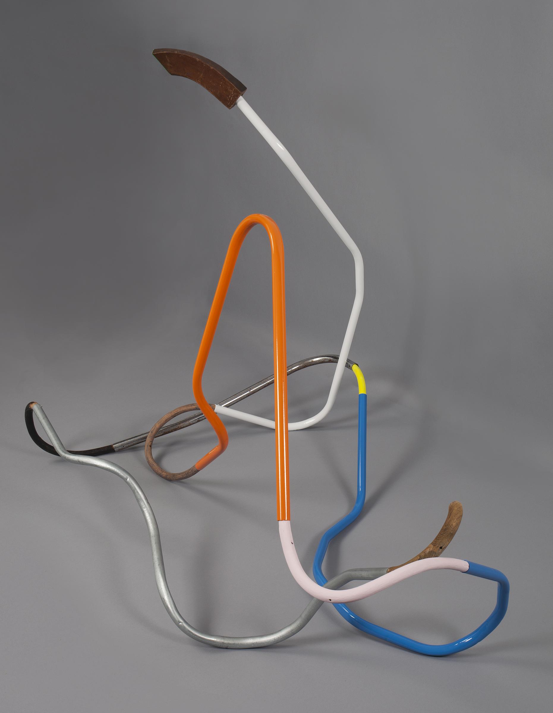 "(alternative view)KIRK STOLLER Untitled (Serpentine), 2018 Wood, galvanized steel, enamel, acrylic, latex paint, 30"" x 47"" x 37"""