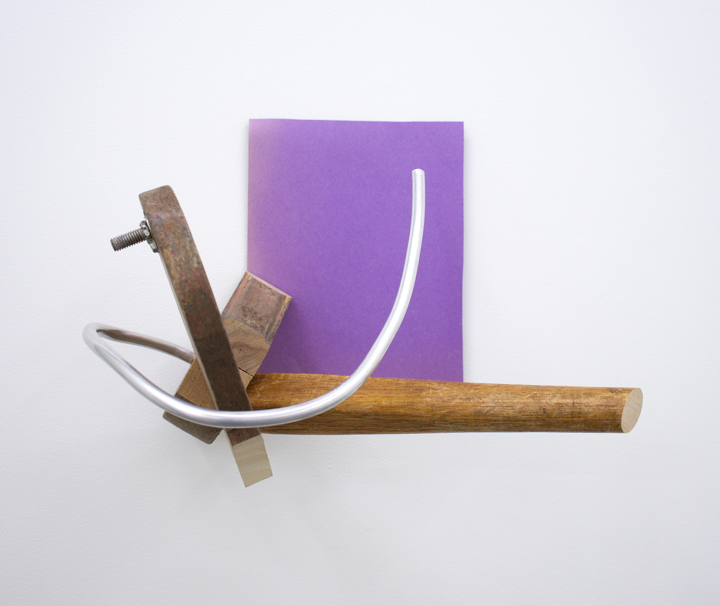 """KIRK STOLLER untitled (victory), 2018, wood, paper, stain, metal, 11.5"""" x 8.5"""" x 14.5"""""""