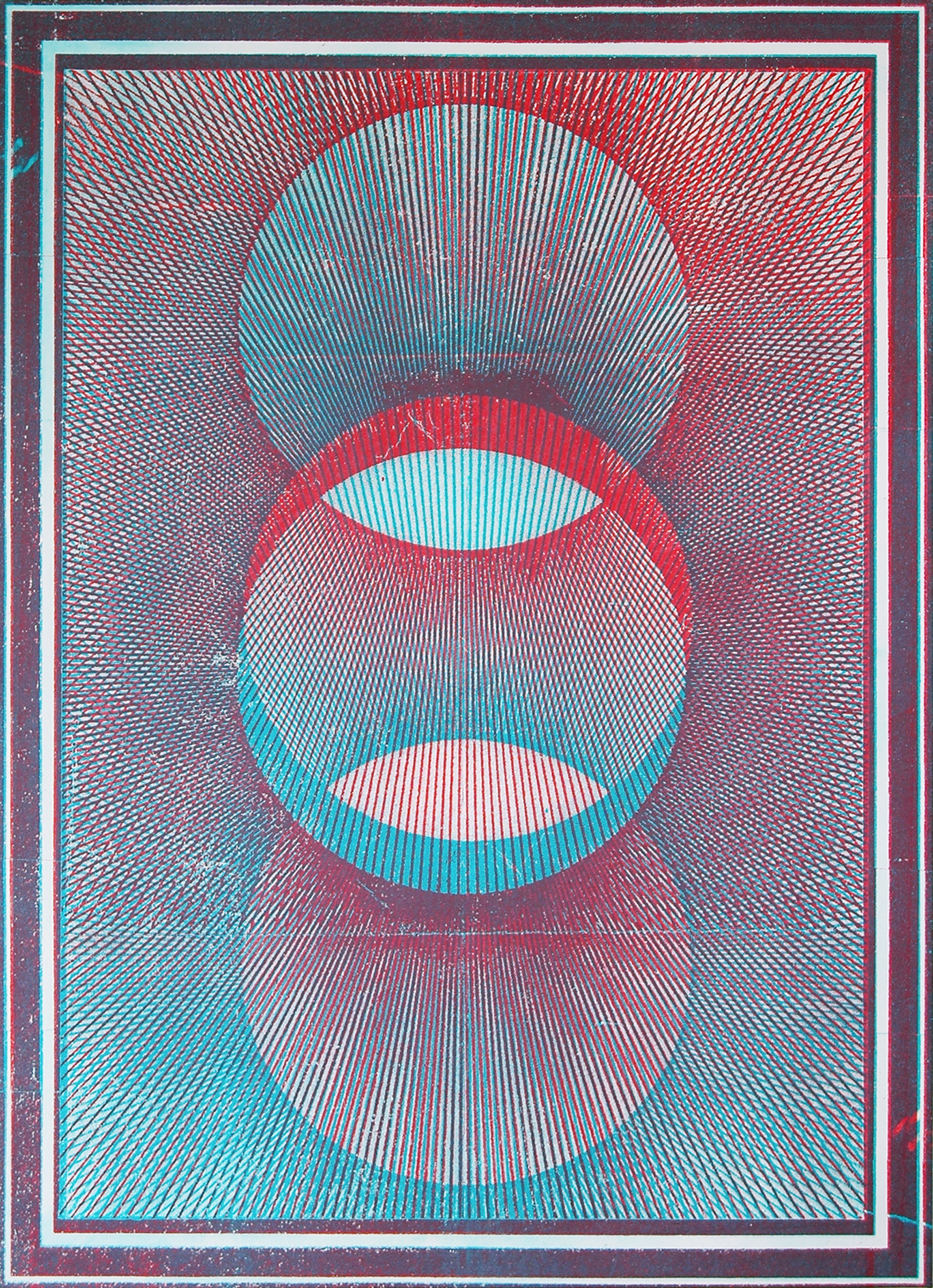 "GWENAËL RATTKE  Projections II (red & blue) , 2012 acrylic and silkscreen with hand working on canvas, 48.25"" x 34.75"""