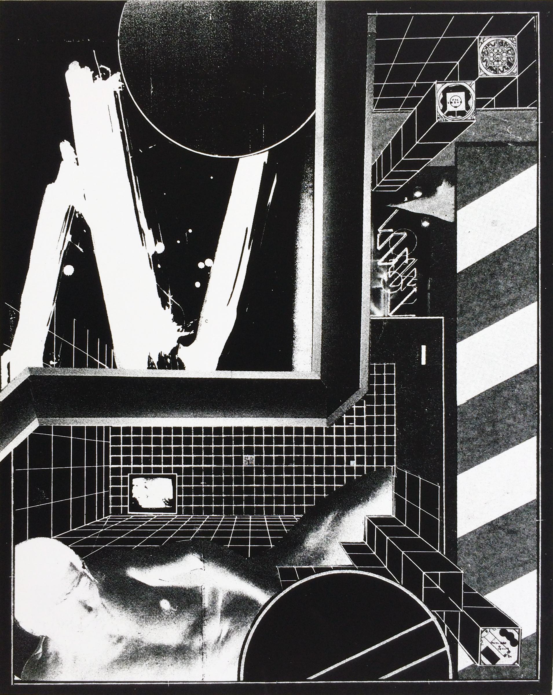 "GWENAËL RATTKE  Capsule Plaza , 2015 unique silkscreen on paper, 19.5"" x 15.5"""