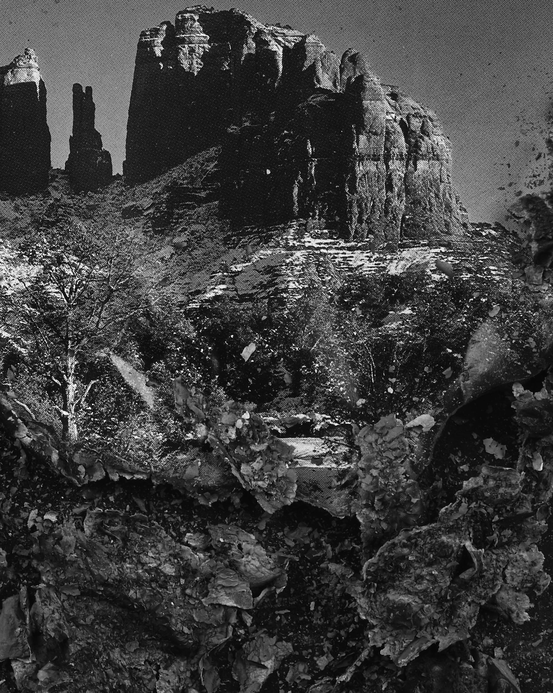 """BESSMA KHALAF (detail)  Burnout (Cathedral Rock) , 2019 Archival pigment print 33"""" x 50"""", Edition of 3 with 1AP"""
