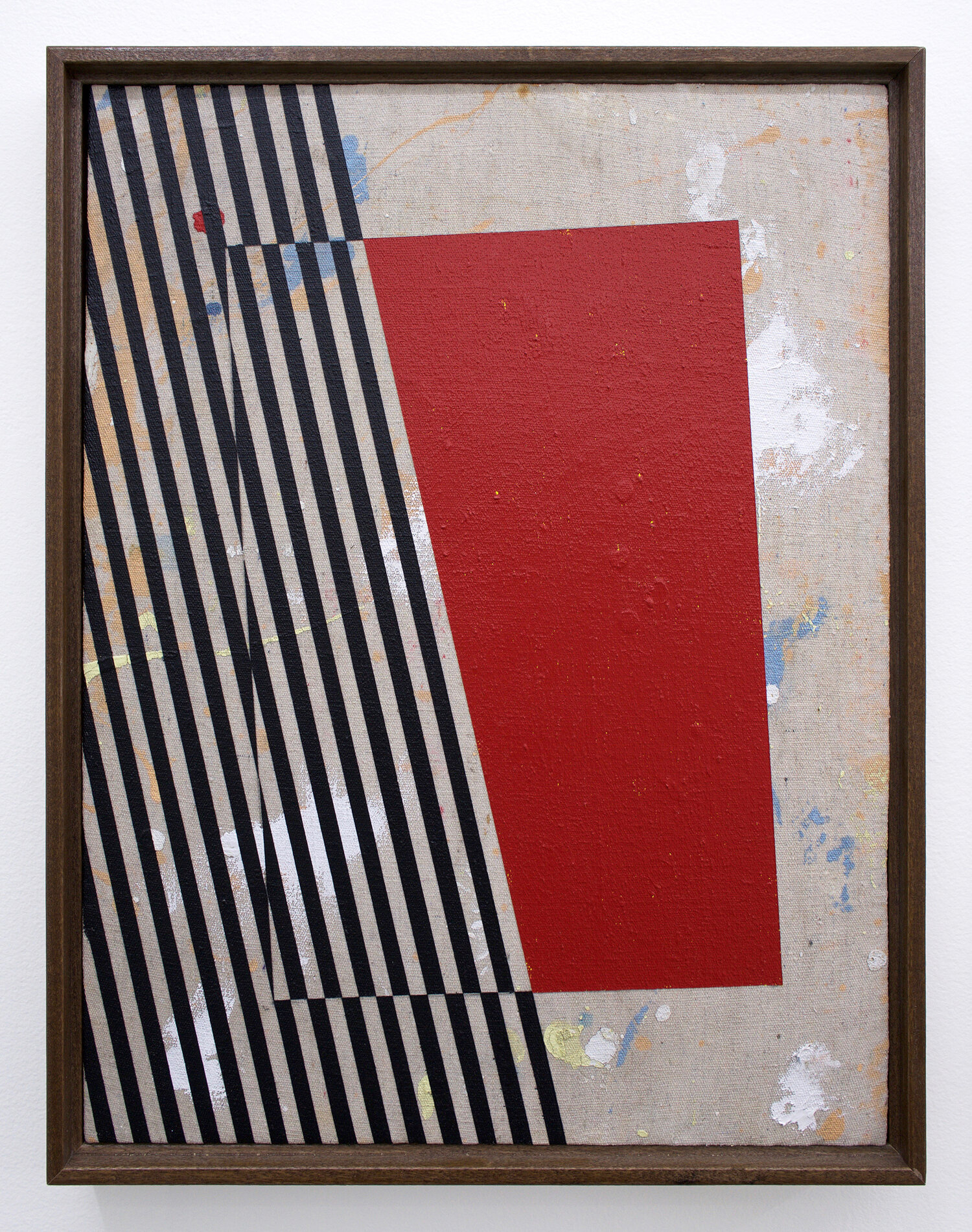 """JOHNNY ABRAHAMS Untitled (Small Red), 2019 acrylic on canvas, 17"""" x 13"""" (framed)"""