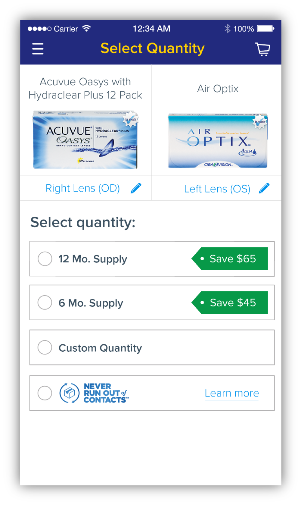 In addition to allowing users to select how many boxes they wanted to order, supply-specific quantities were added so that users had a clear understanding of how long their lenses would last them.