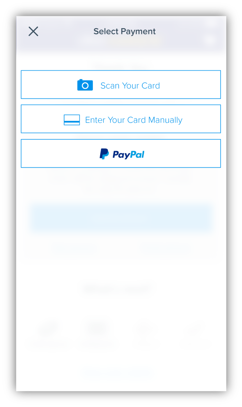 If Apple Pay/Google Wallet wasn't available or used by the user, then other options were provided like scanning your card or paying with Paypal.