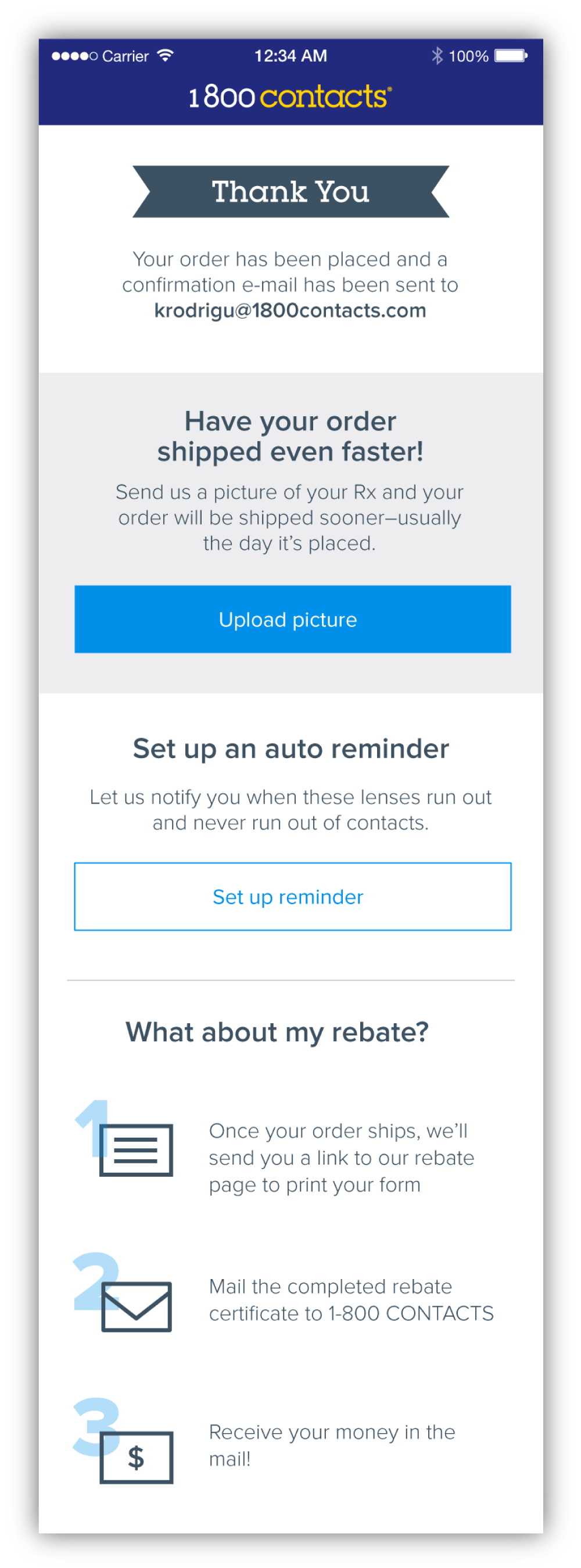 """The Thank You page was divided up so that the content would be easier to consume. I also added the """"What about my rebate?"""" section so that users wouldn't be left in the dark as to what to do concerning their rebate."""