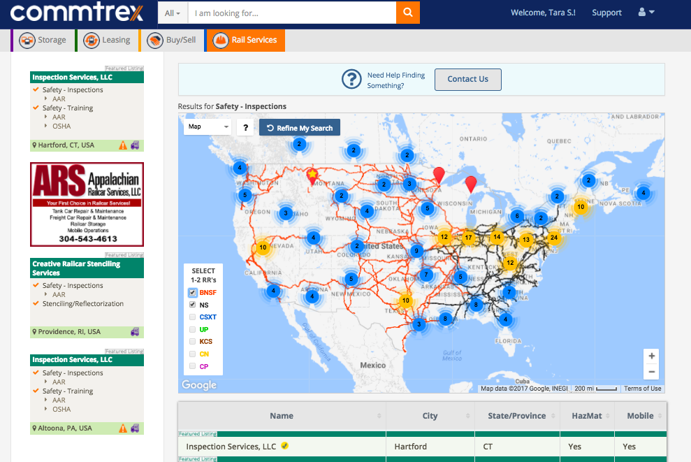 Snapshot of the Commtrex Exchange Service Directory and the listed 270 rail safety providers.