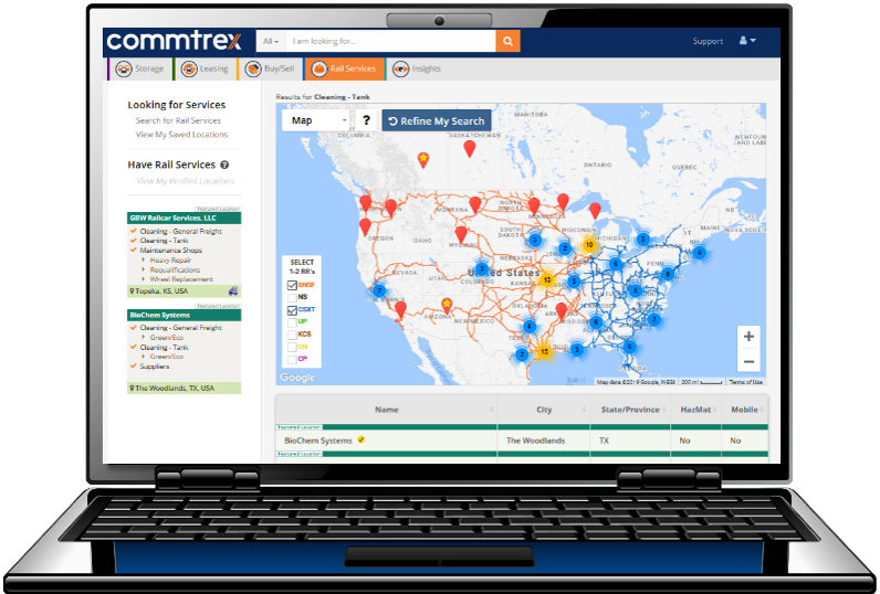 The Commtrex Exchange - The only open, electronic marketplace that expedites and improves every step - from connection to contract - between rail shippers, storage providers, service providers, and asset owners.Commtrex's asset management tools and market data is based on real transactions, and benefits our member companies with engagement efficiencies and financial insights.Learn More