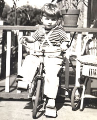 I was so little when I got my first bicycle, I needed big wooden blocks to reach the pedals.
