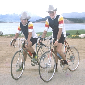 Here's a shot of Dick Dougherty and me at Hoosier Pass, Coloado on our cross-counrty BikeCentennial ride.